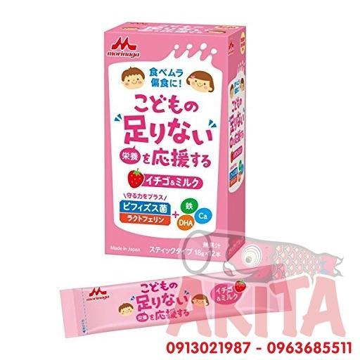 Sữa bột Morinaga vị dâu tây cho bé 3T+ (10 góix18gr)