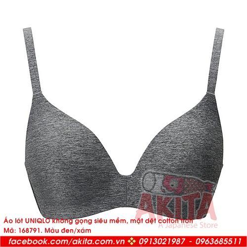 Áo lót Uniqlo không gọng siêu mềm mặt dệt cotton trơn (màu 09 black)