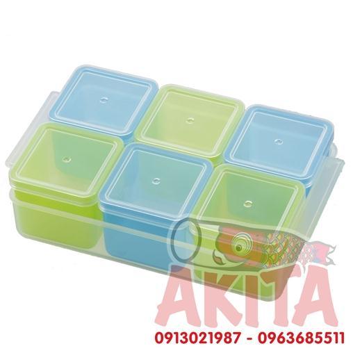 Hộp trữ đông/chia thực phẩm có nắp Akebono (6 hộp x100ml)