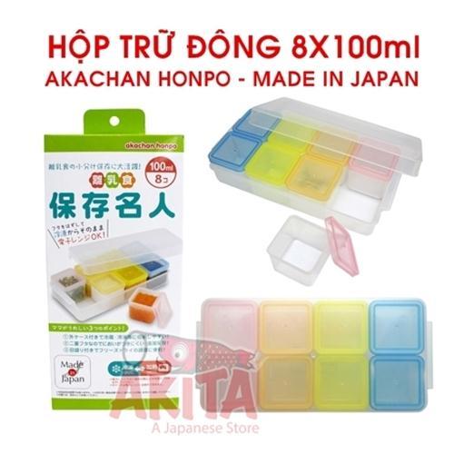 Hộp trữ đông  Akachan Honpo (8 hộp x 100ml)