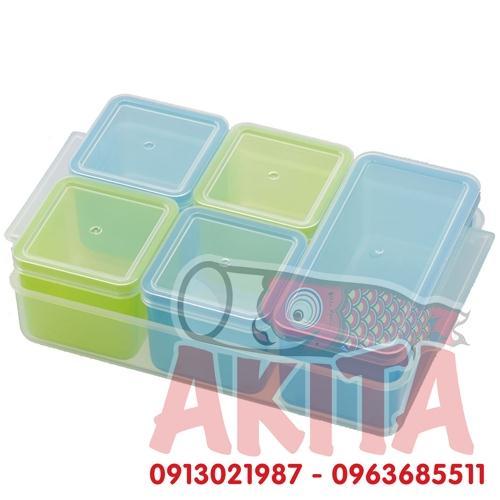 Hộp trữ đông/chia thực phẩm có nắp Akebono (4 hộp x100ml, 1 hộp x200ml)