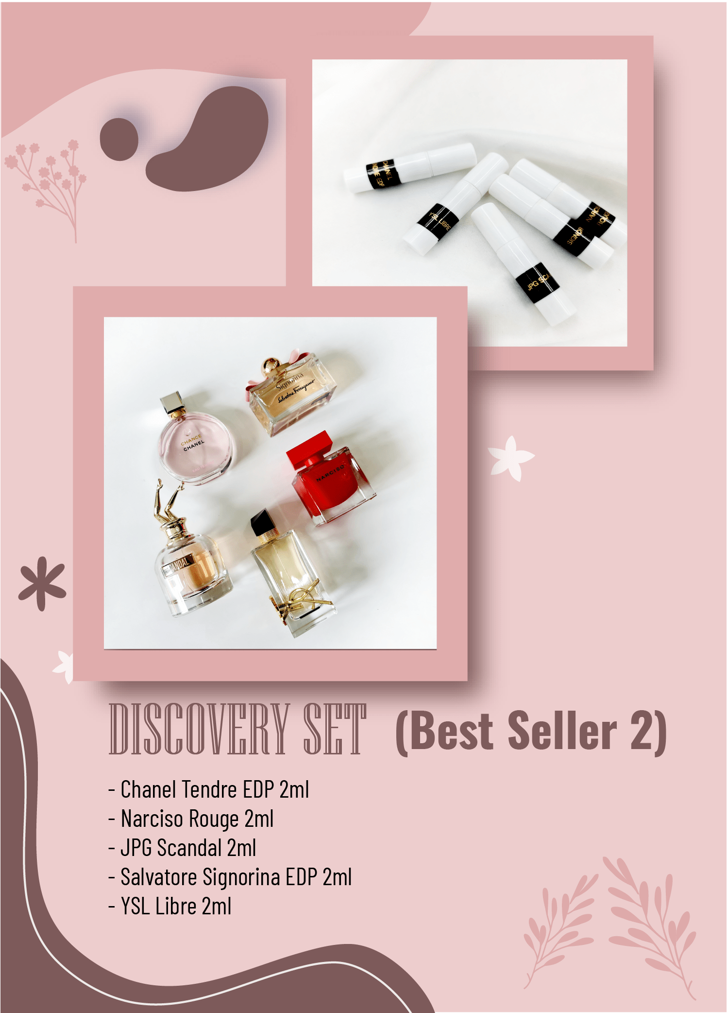DISCOVERY SET Nữ Best Seller 2 (Chanel Tendre EDP 2ml - Narciso Rouge 2ml - JPG Scandal 2ml - Salvatore Signorina EDP 2ml - YSL Libre 2ml)