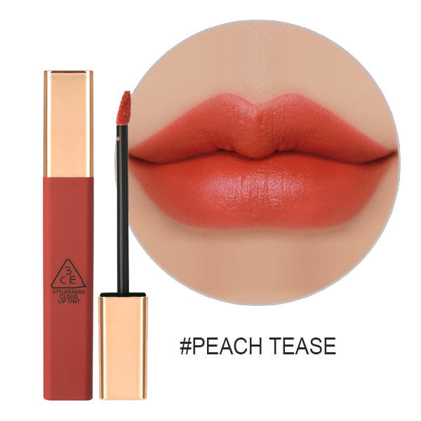 Son 3CE Kem Cloud Lip Tint Màu Peach Tease ( Cam san hô)