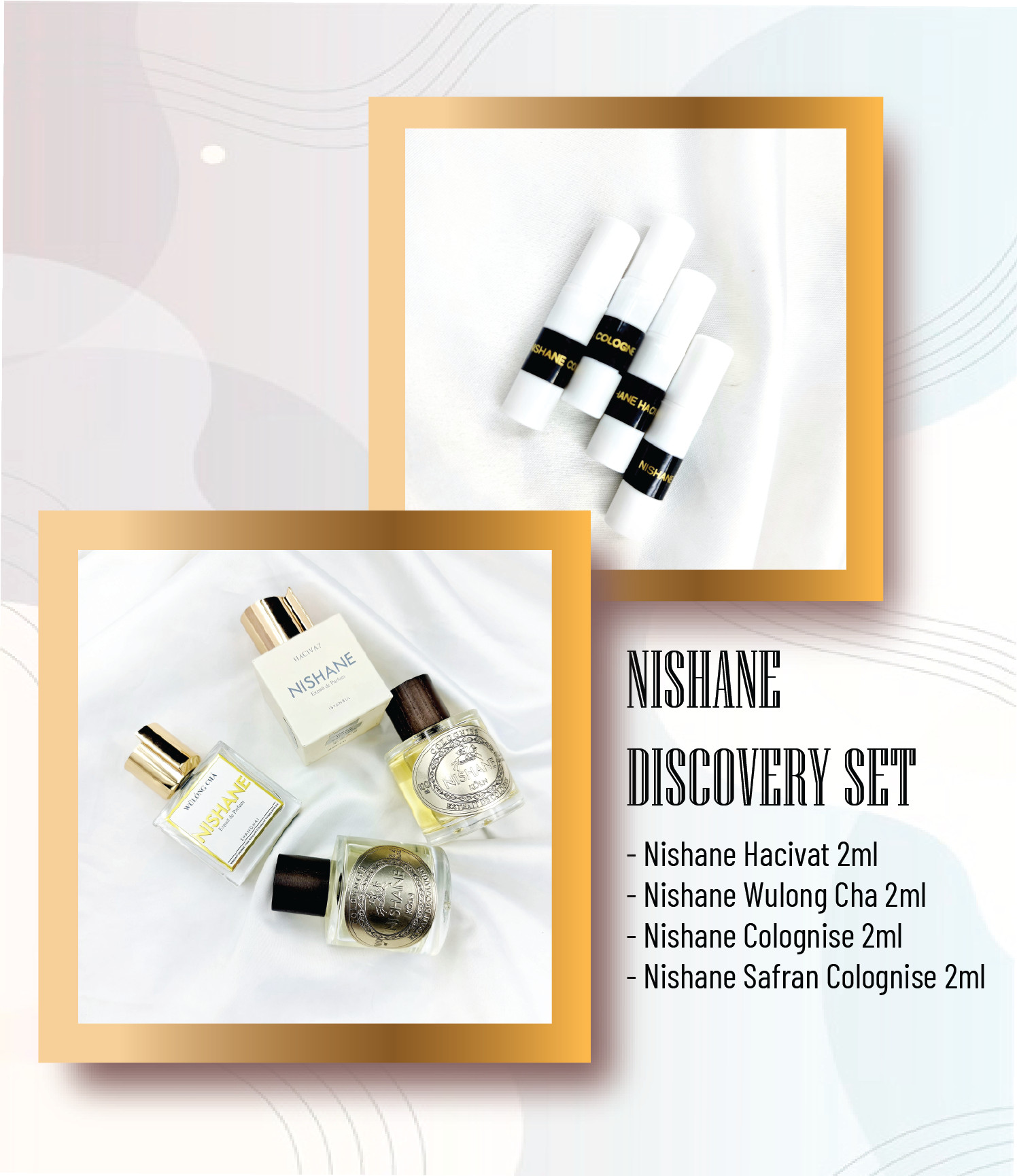 Discovery SET Nishane (Hacivat 2ml + Wulong Cha 2ml + Colognise 2ml + Safran Colognise 2ml)