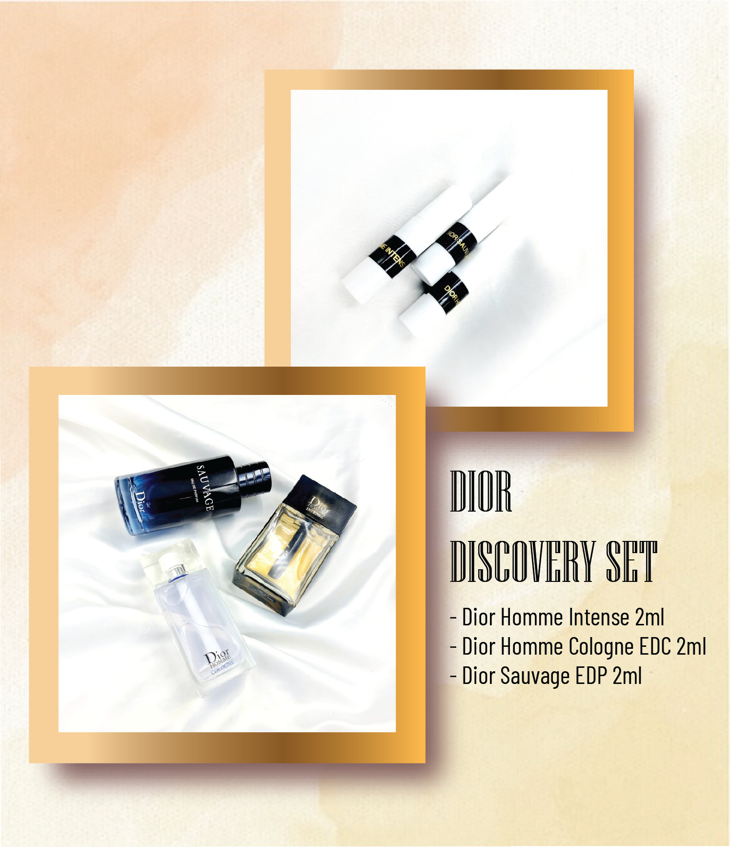 Discovey Set DIOR (Dior Homme Intense 2ml + Dior Sauvage EDP 2ml + Dior Homme Cologne 2ml)