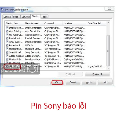 pin sony báo The installed battery may not be properly