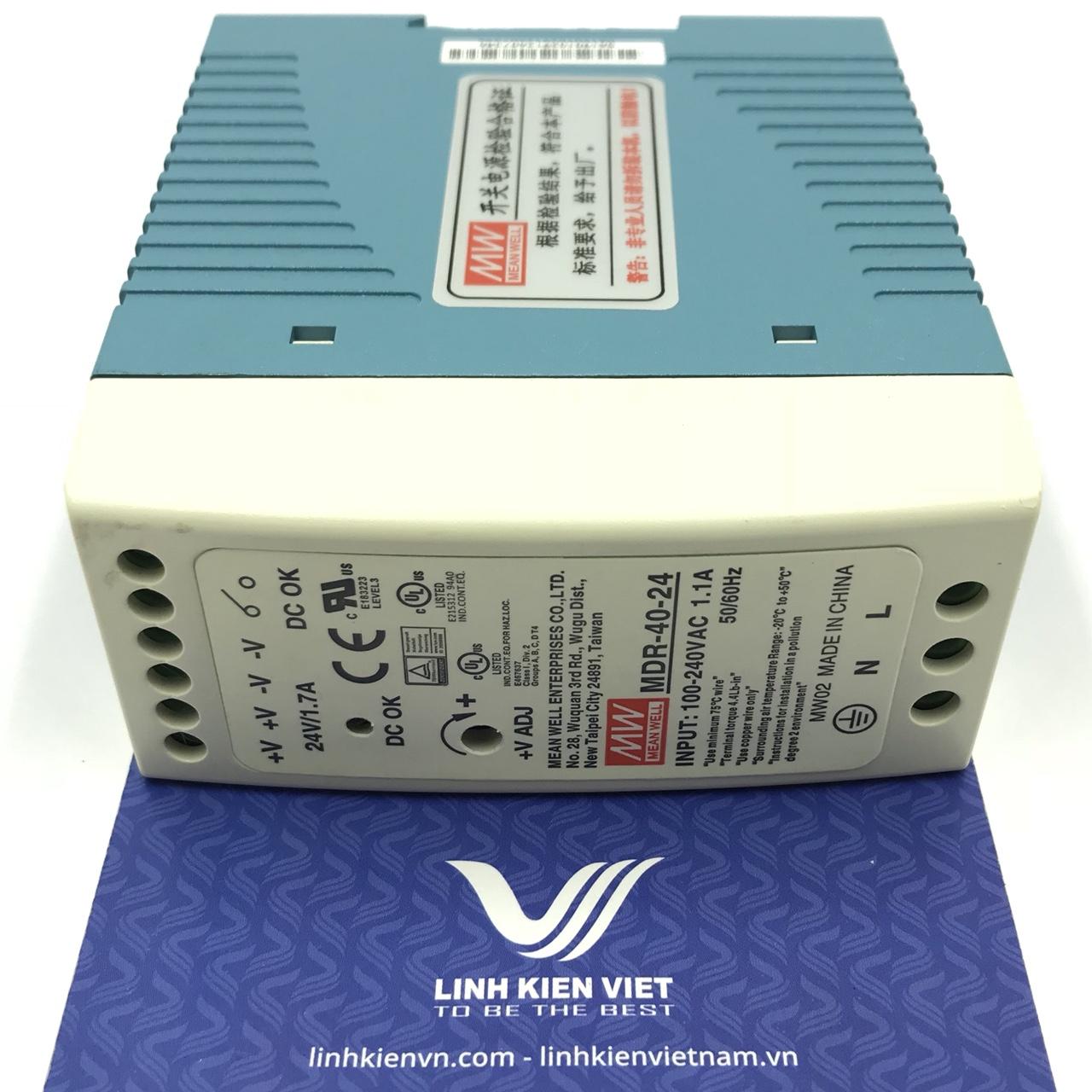 Nguồn MEAN WELL 24V 1.7A / MDR-40-24 Lắp cho tủ điện (vỏ nhựa)