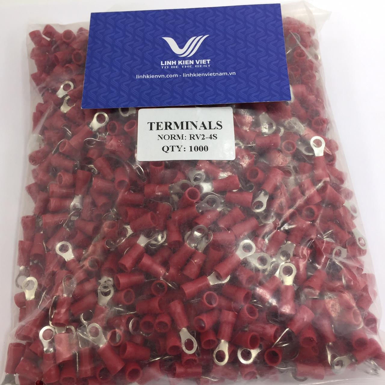 Đầu CỐT tròn RV2-4S Màu đỏ - túi 1000 cái - S2H6