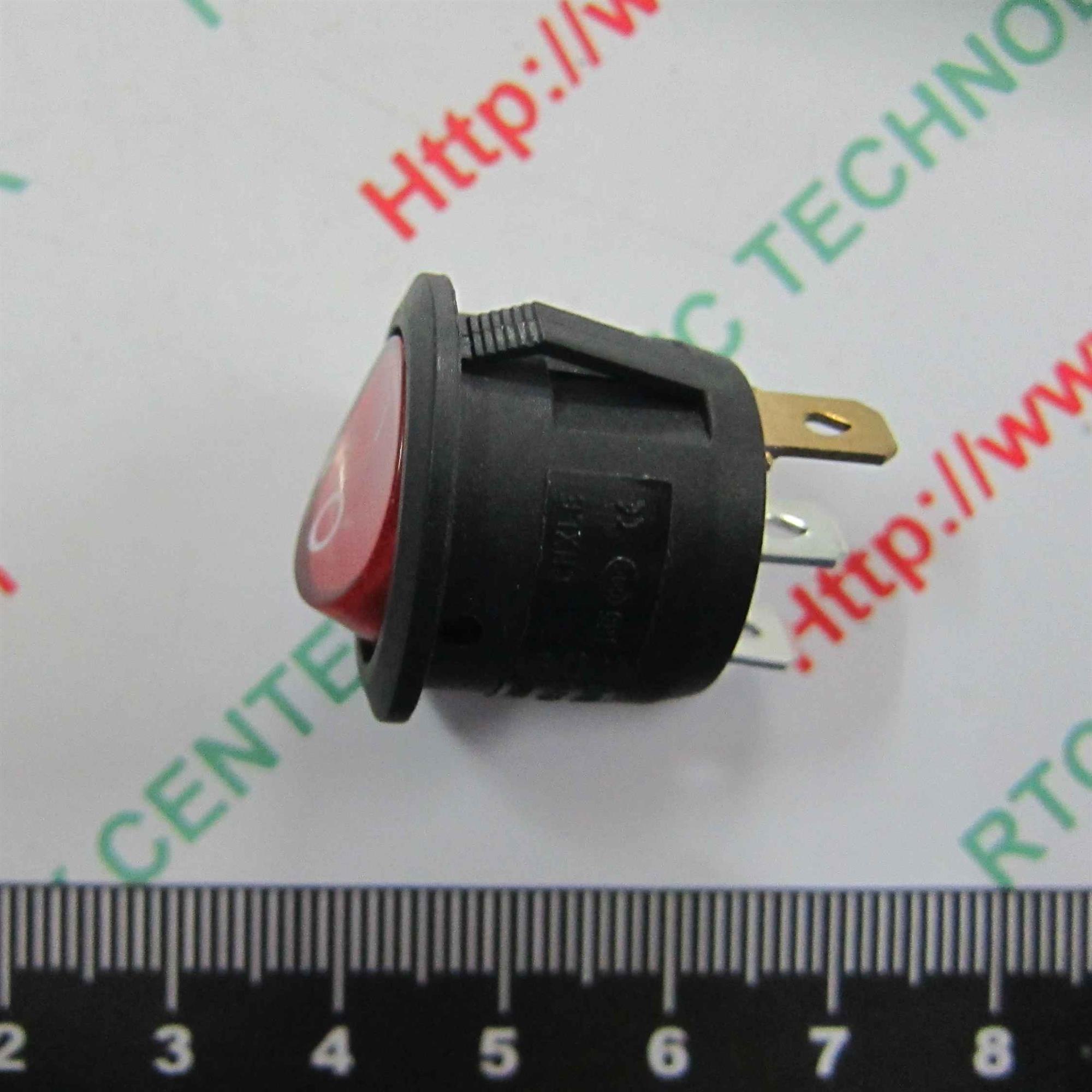CÔNG TẮC NGUỒN 220V 6A ĐỎ CÓ ĐÈN KCD1-105 20mm 3 chân - D3H10