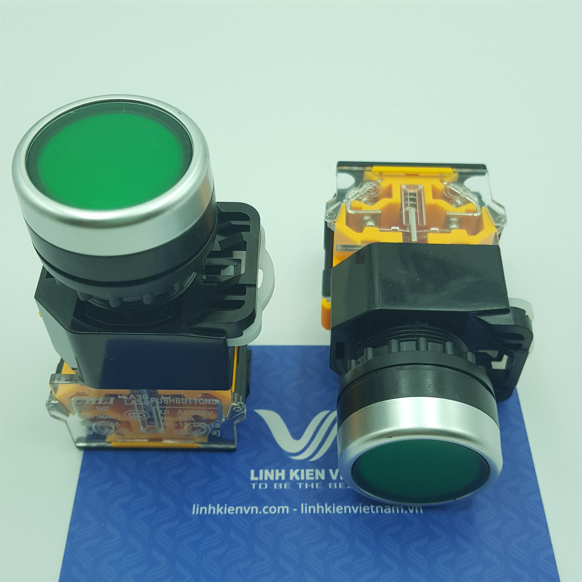 Nút nhấn LA38-11 22mm màu xanh lá -J5H15