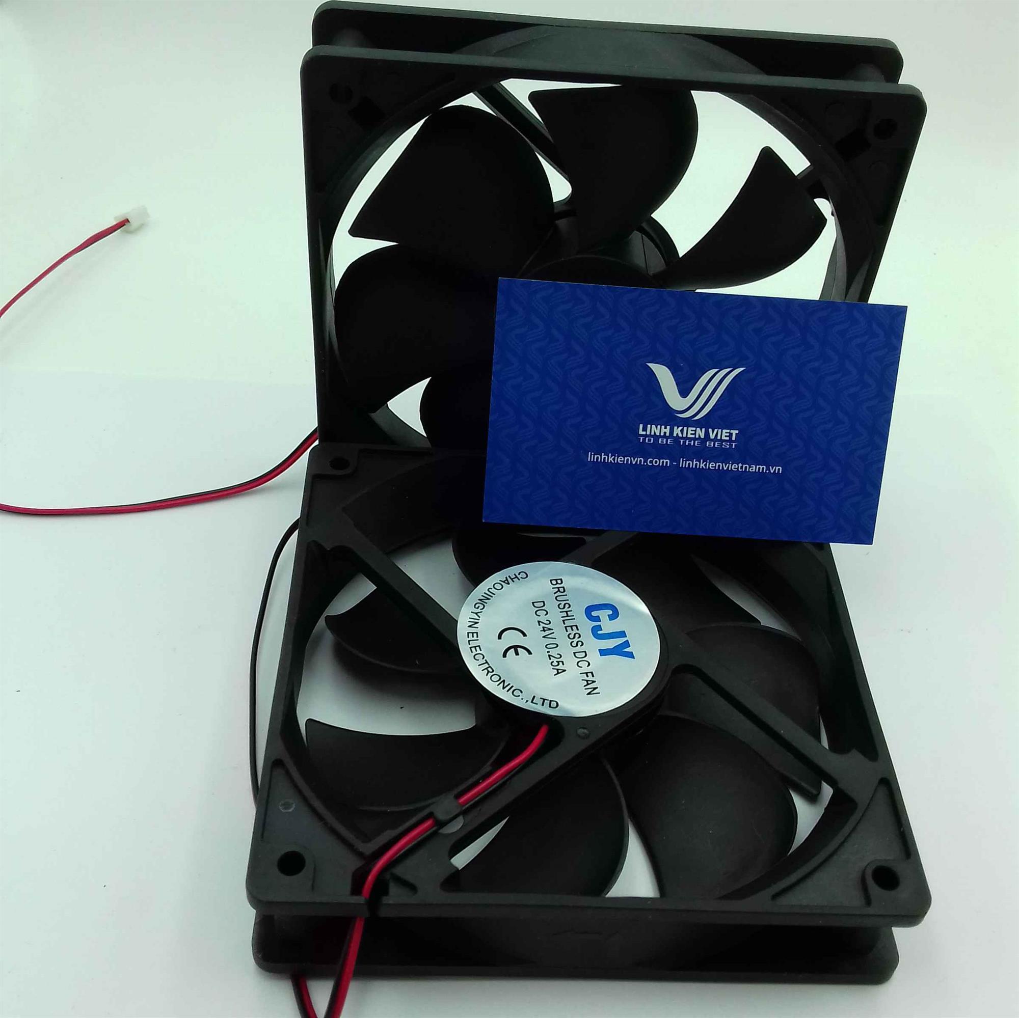 Quạt tản nhiệt 24V 12cm x 12cm / Quạt tản nhiệt 12025 24V 12x12x2.5cm / Quạt Fan 12025