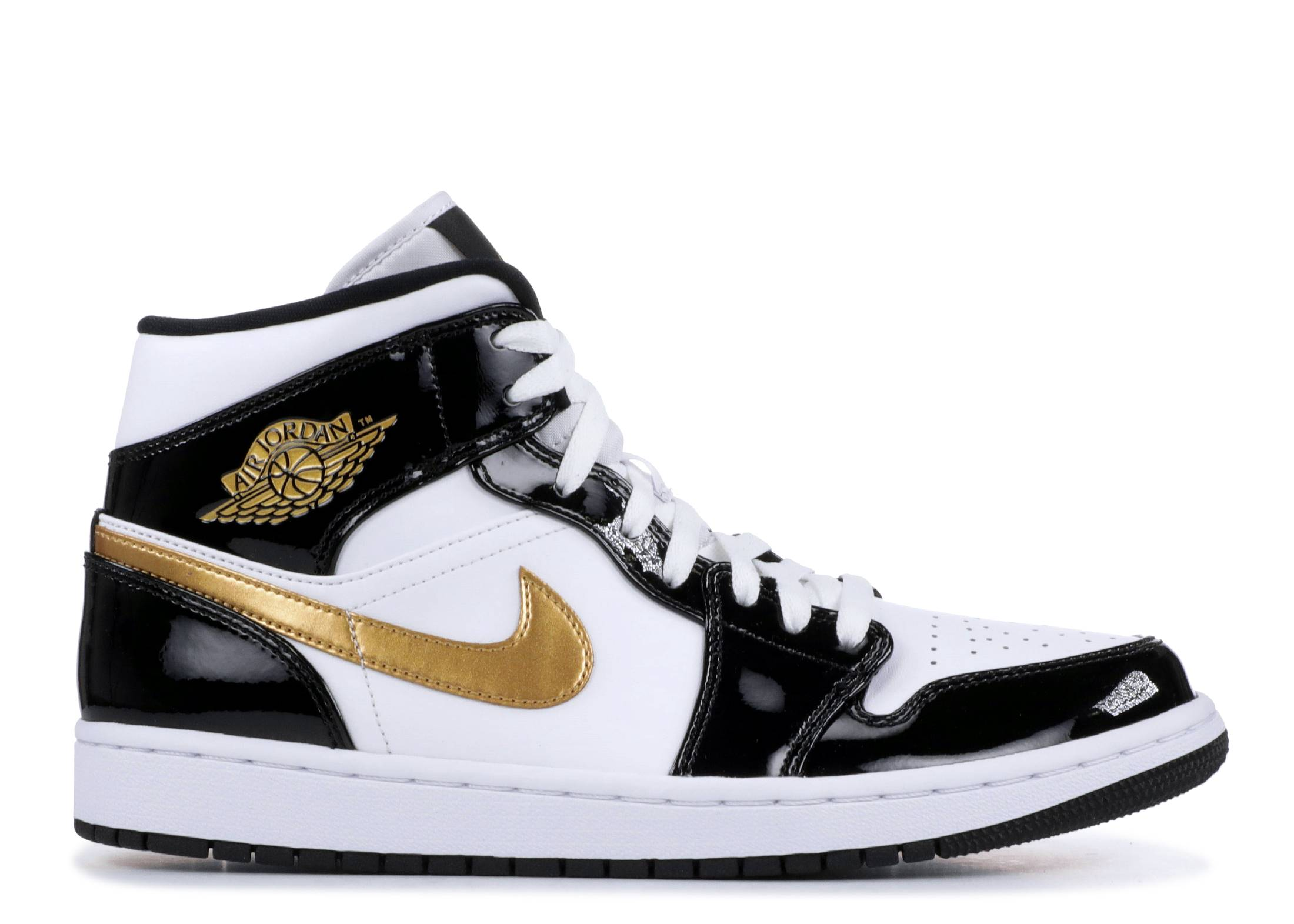 AIR JORDAN 1 MID PATENT 'BLACK GOLD'