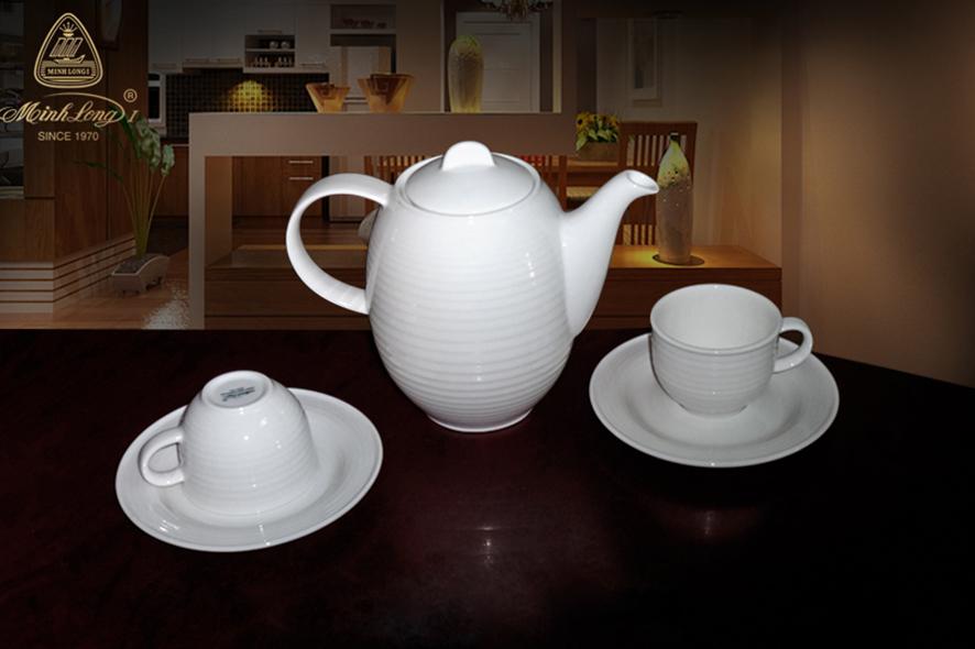 Bộ cà phê 0.8L Sago Trắng 01080100003 Minh Long