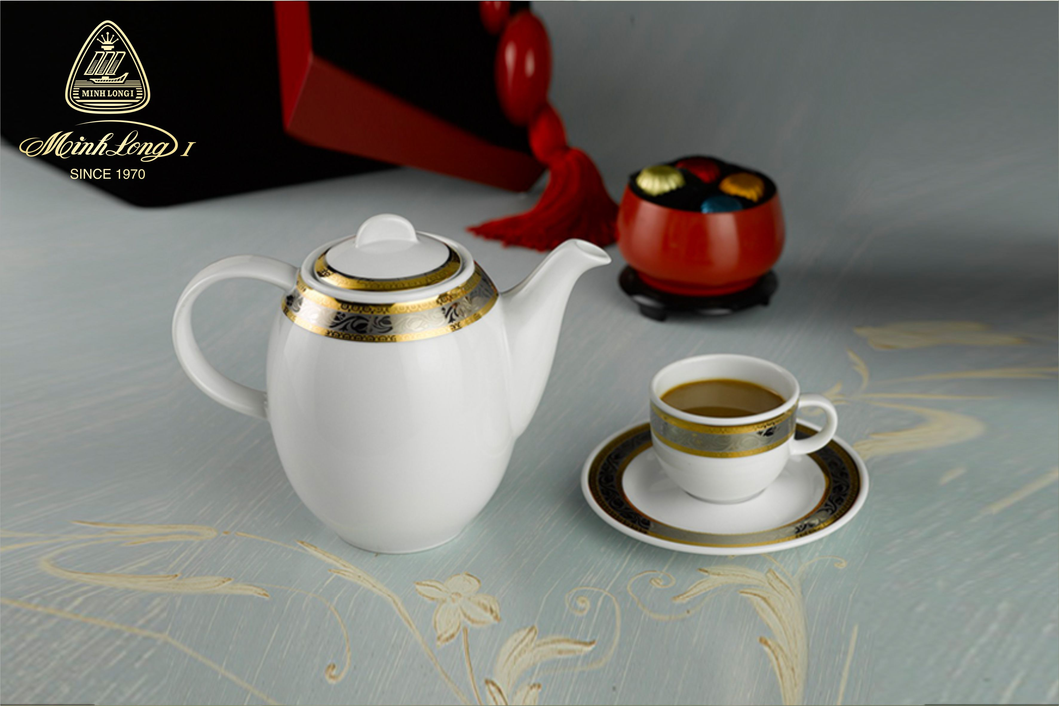 Bộ cà phê 0.8L Sago Hoa Hồng 01080101703 Minh Long