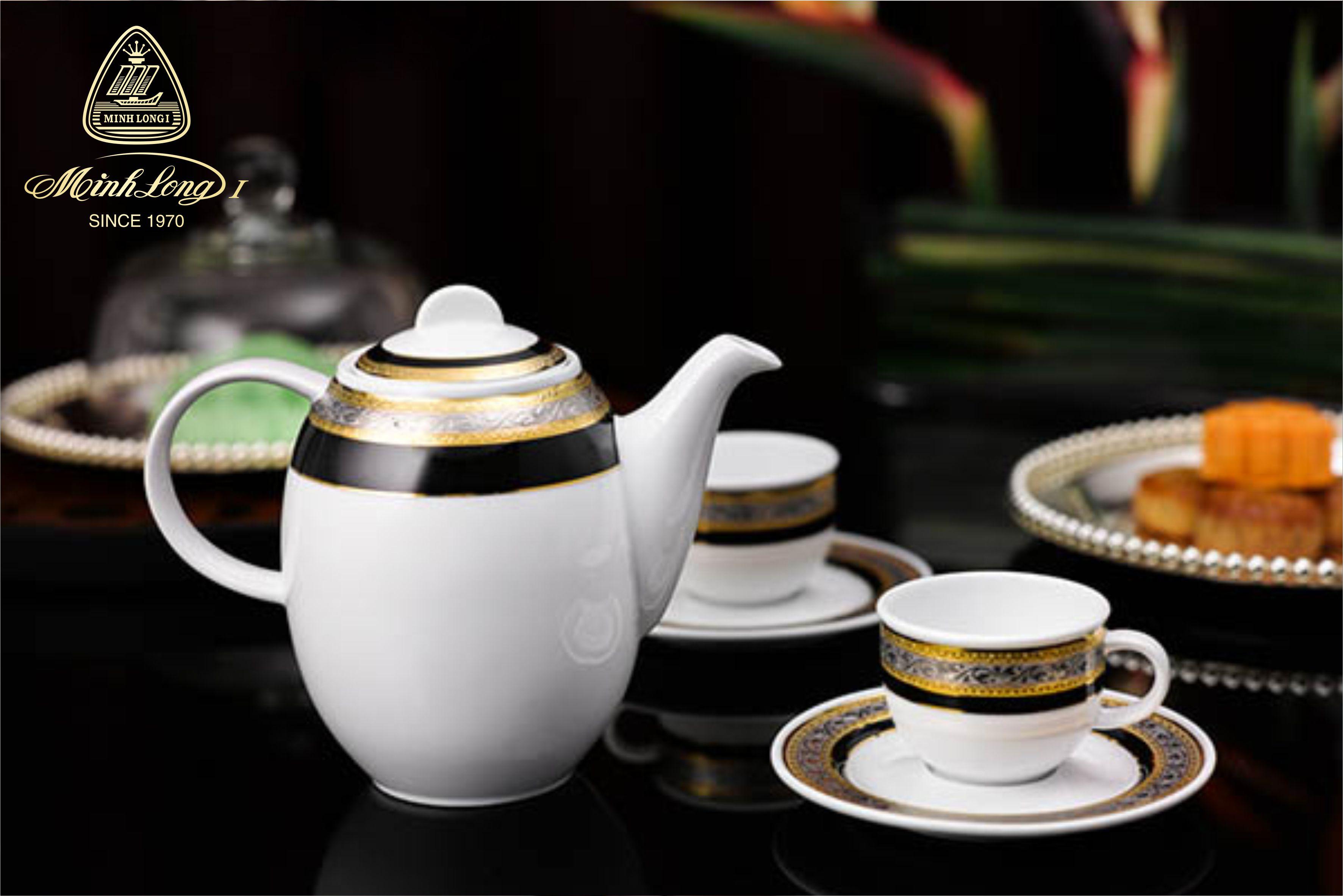 Bộ cà phê 1.3L Sago Hoa Hồng Đen (Khắc nổi) 01130139103 Minh Long