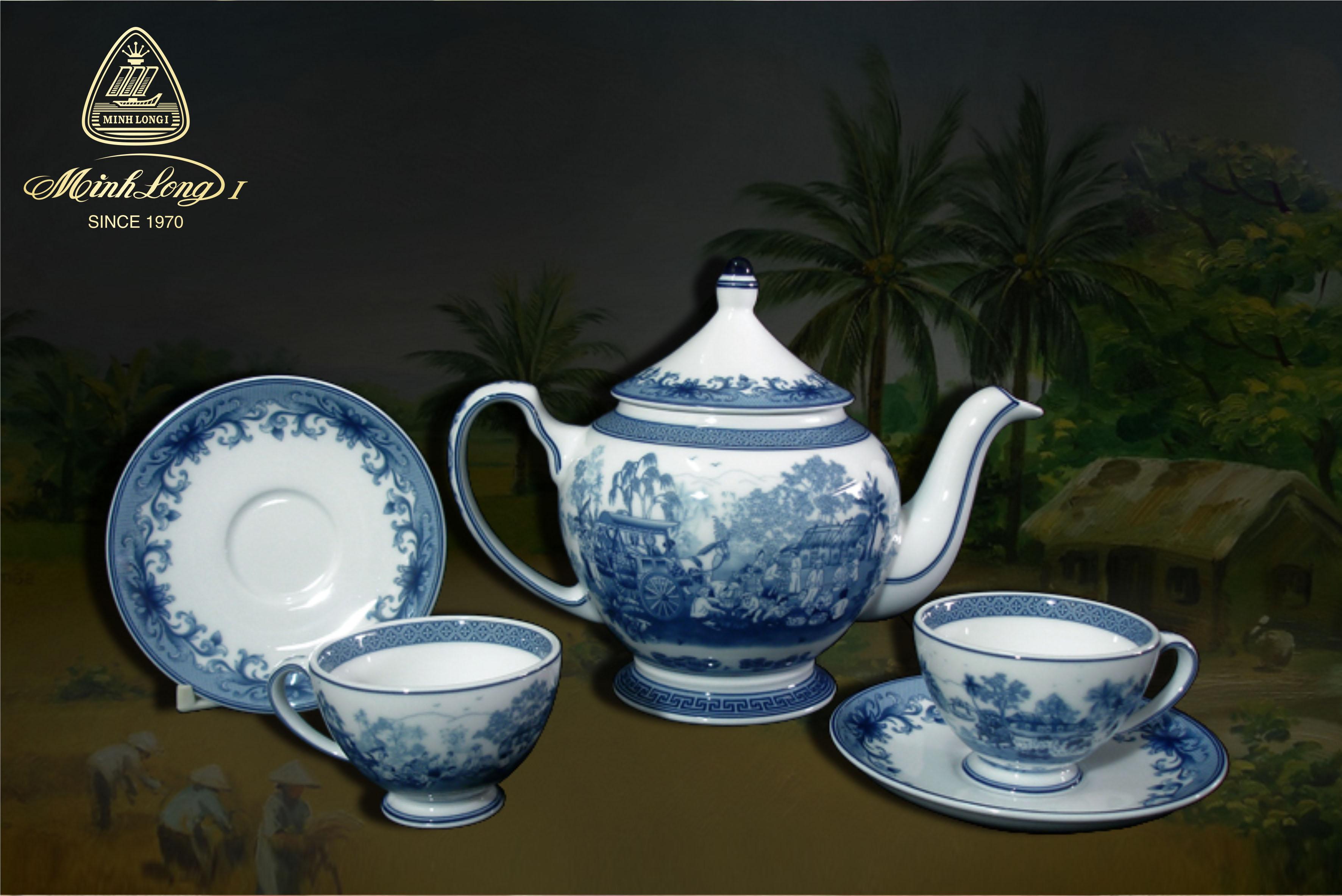 Bộ trà 0.8L Hoàng Cung Hồn Quê 01084030003 Minh Long