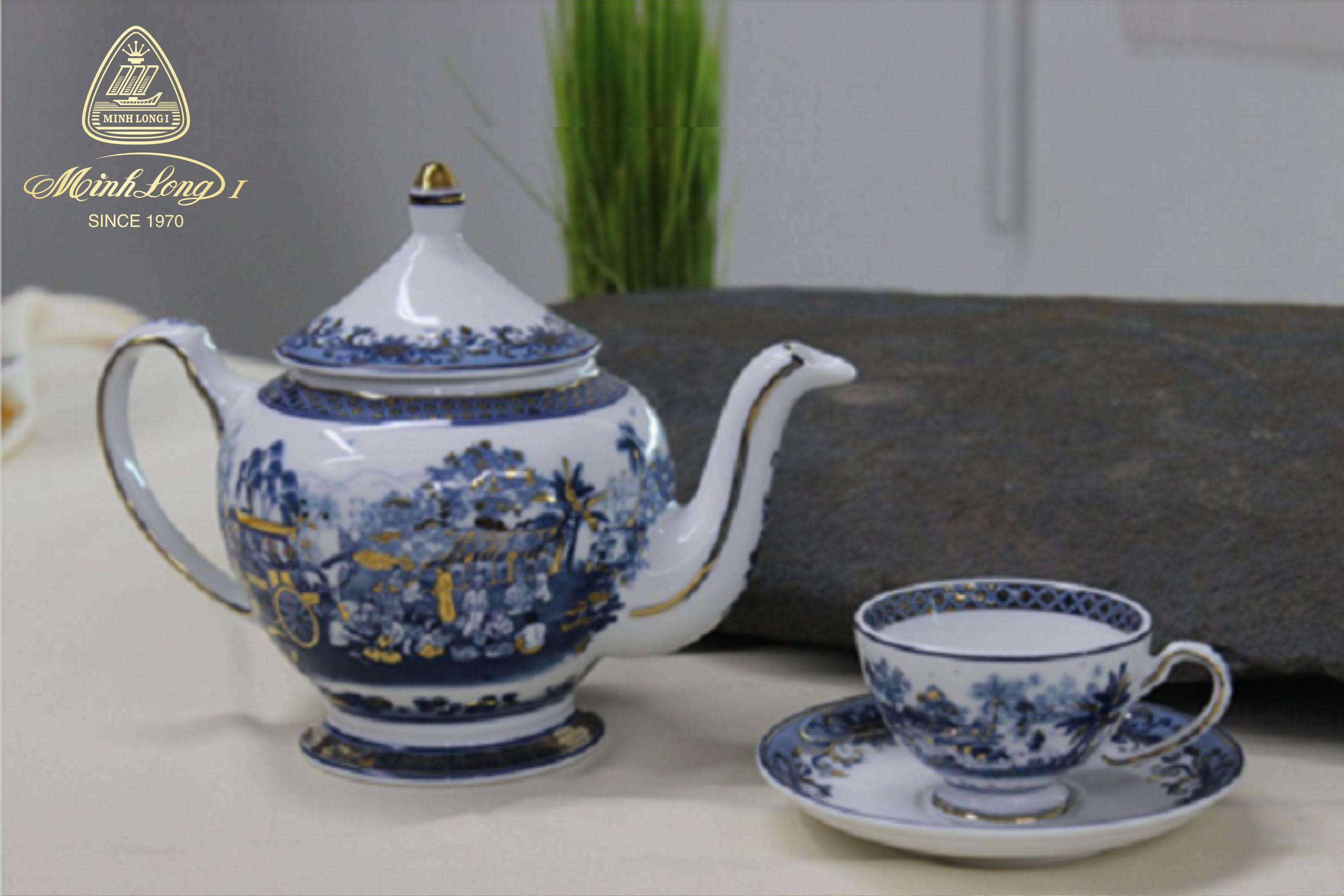 Bộ trà 0.8L Hoàng Cung Hồn Quê Vàng 01084037503 Minh Long