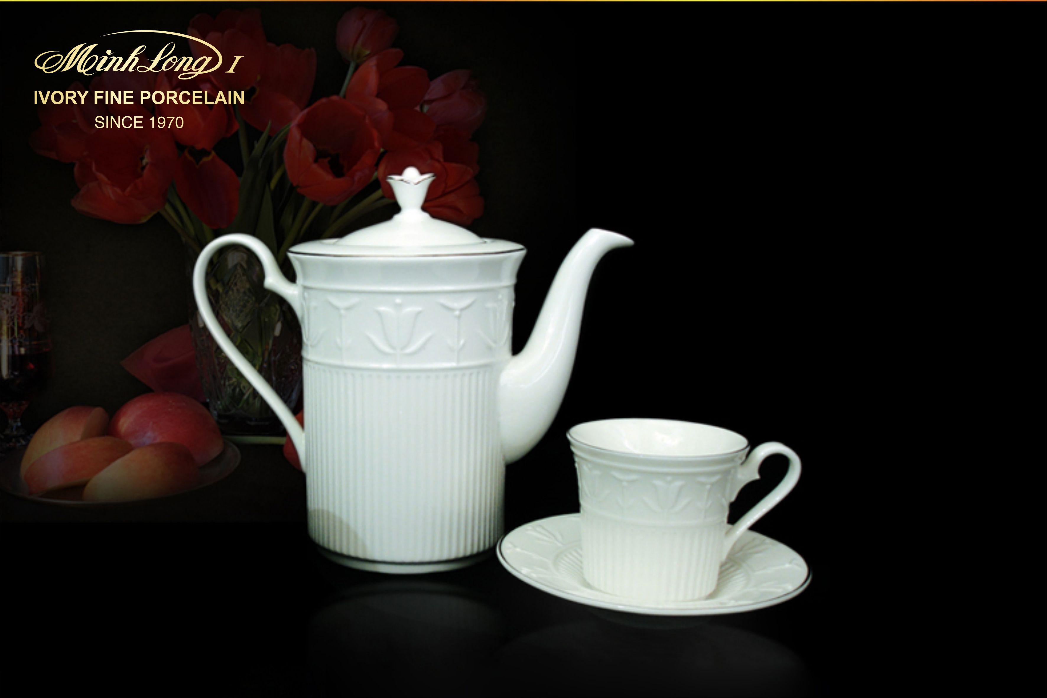 Bộ cà phê 0.8L Tulip Nỗi Trắng Ngà 01084200003 Minh Long