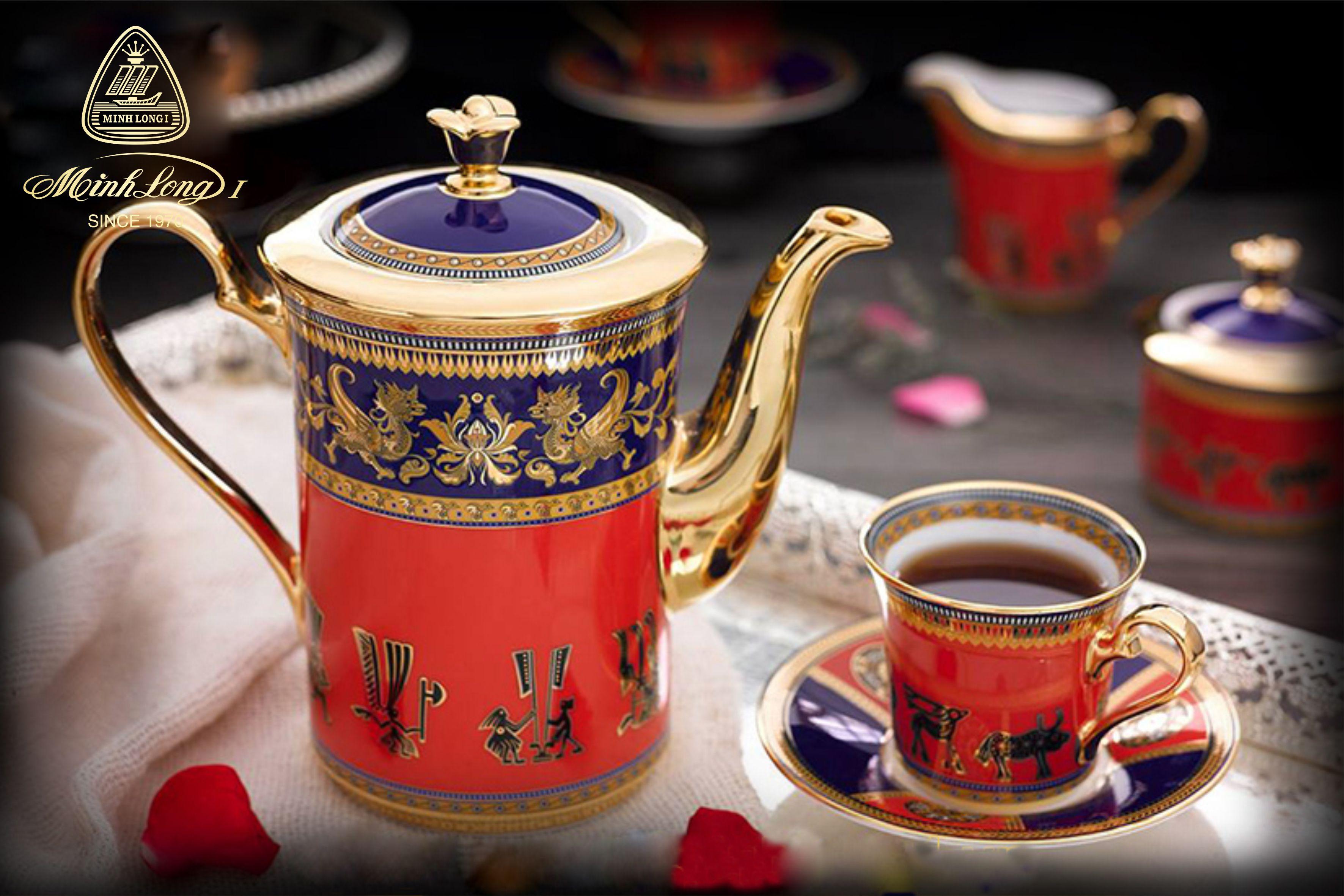 Bộ cà phê 0.8L Tulip Trắng Trống Đồng 01088437603 Minh Long