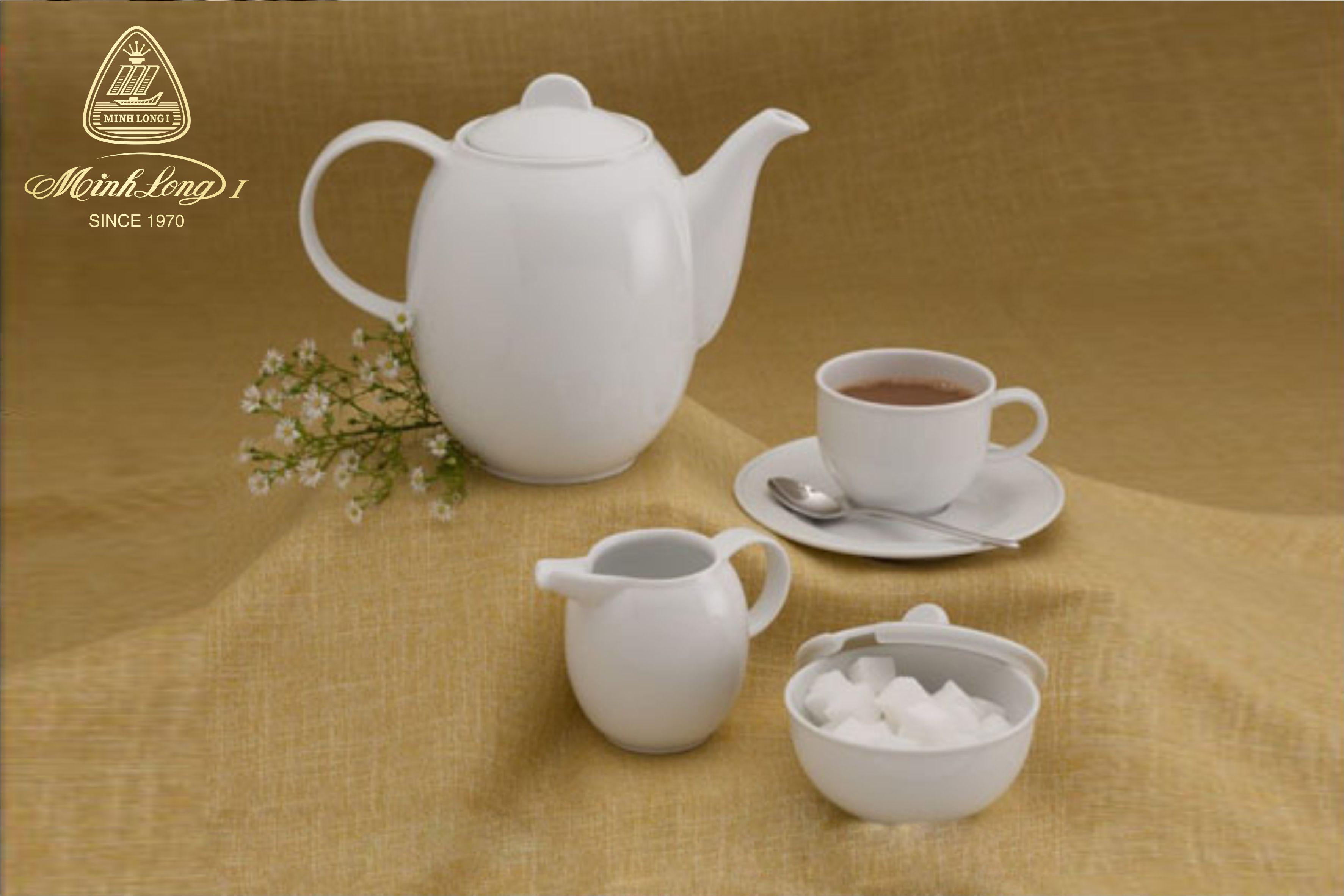Bộ cà phê 1.3L Sago Trắng 01130100003 Minh Long