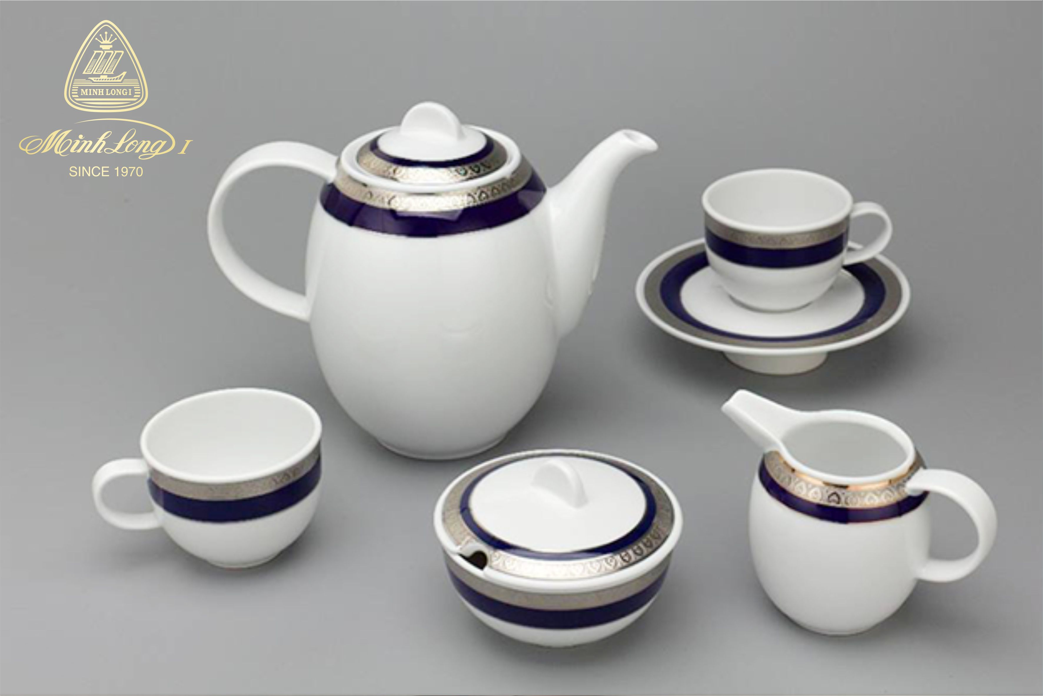 Bộ cà phê 1.3L Sago Thiên Tuế Xanh (Khắc nổi) 01130139203 Minh Long