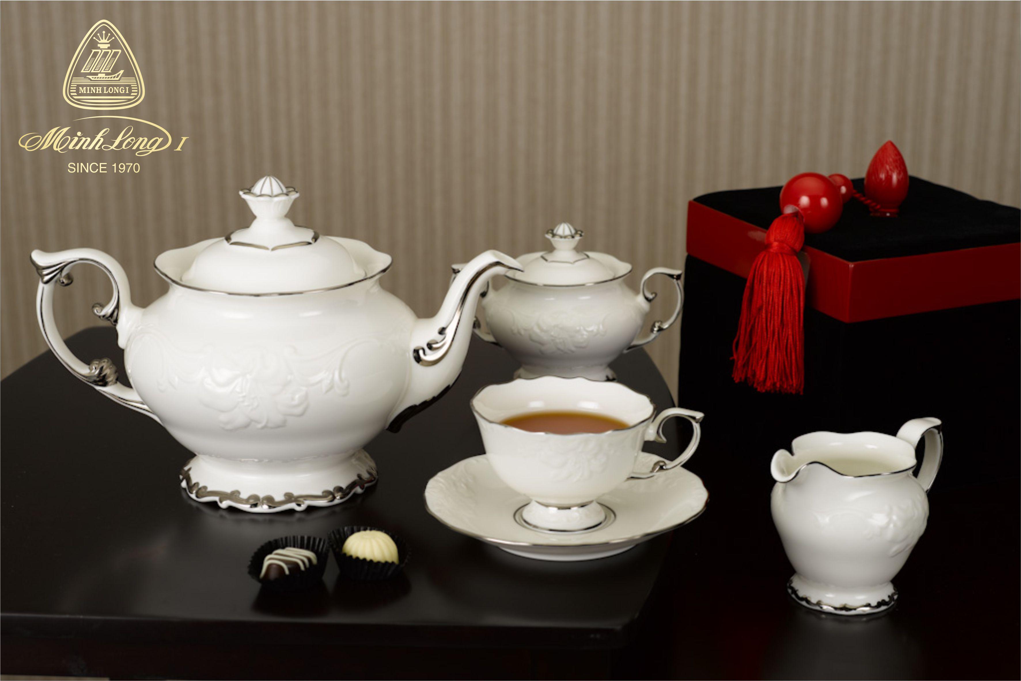 Bộ trà 1.3L Đài Các Chỉ Bạch Kim 01134604303 Minh Long