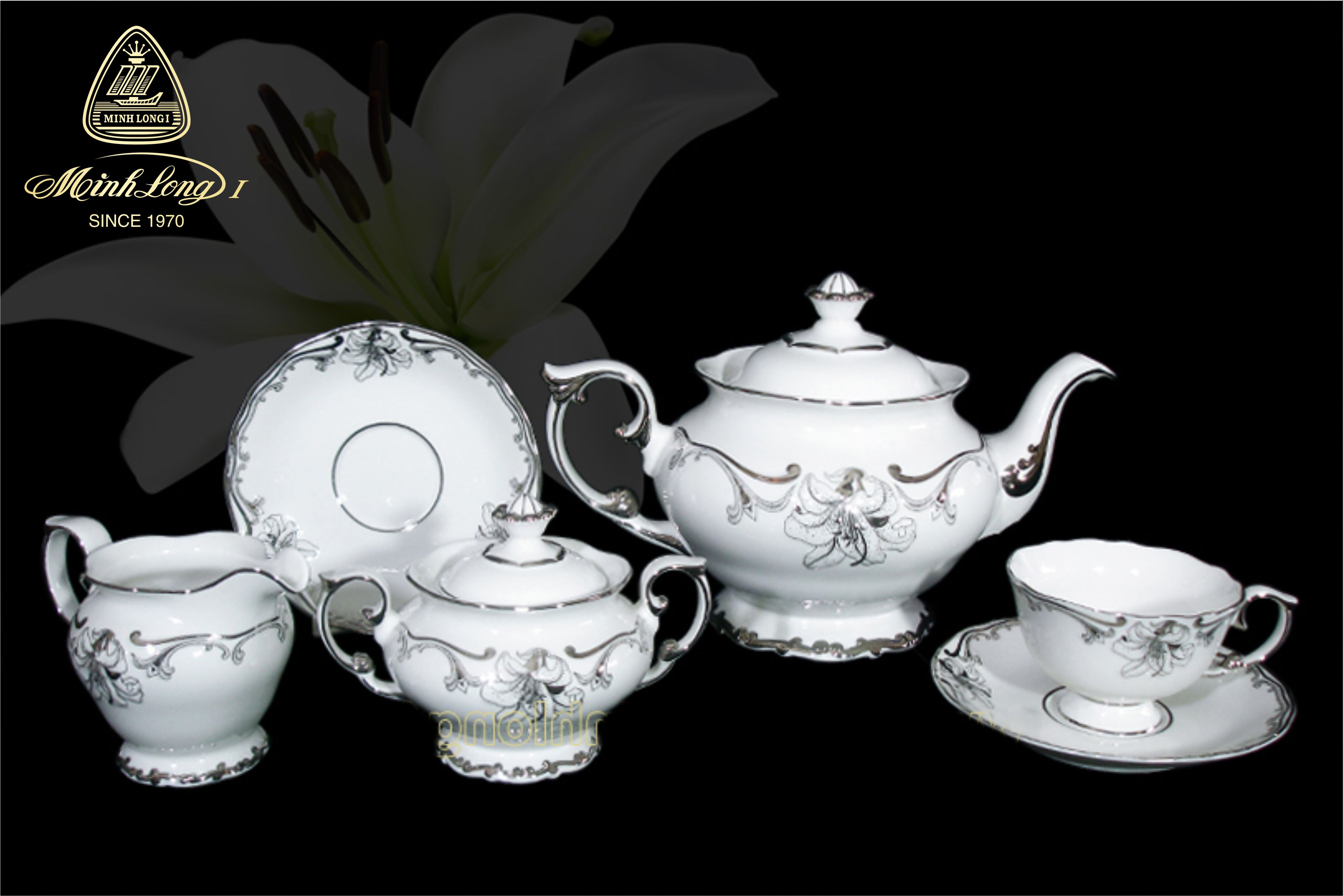 Bộ trà 1.3L Đài Các Trang Trí Bạch Kim 01134626603 Minh long