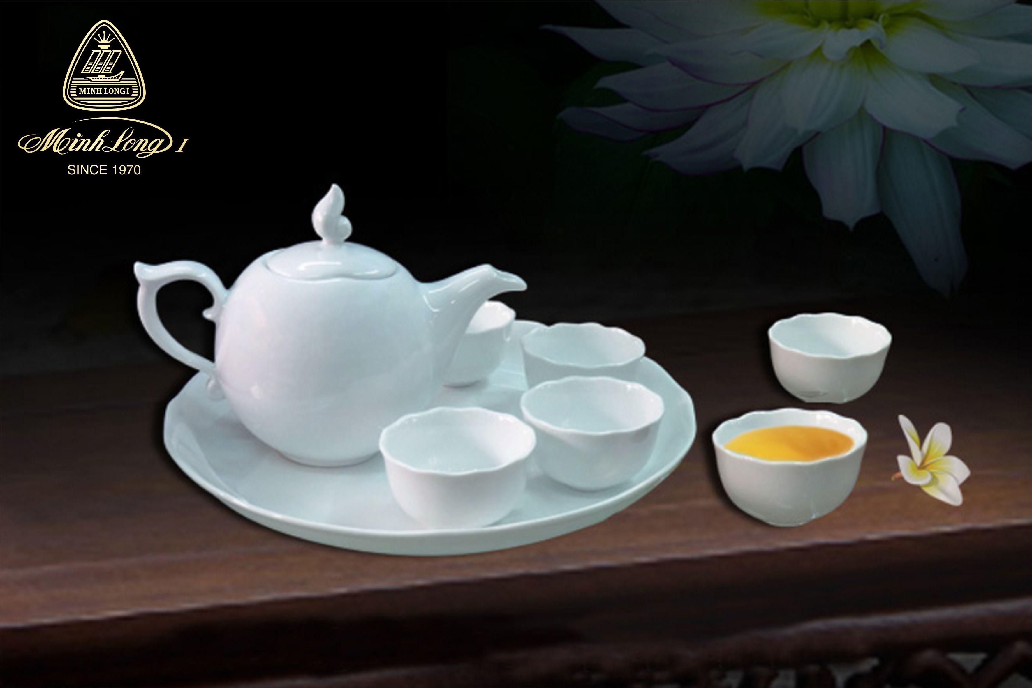 Bộ trà 0.3L Mẫu Đơn Trắng 68300800003 Minh long