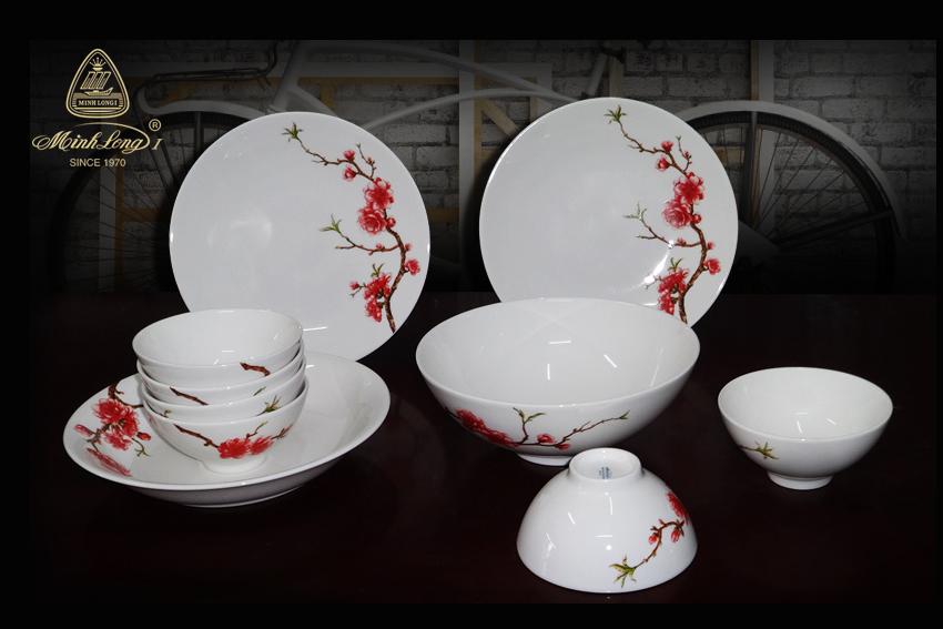 Bộ bàn ăn 10sp Daisy IFP Hồng Đào 461028410 Minh Long