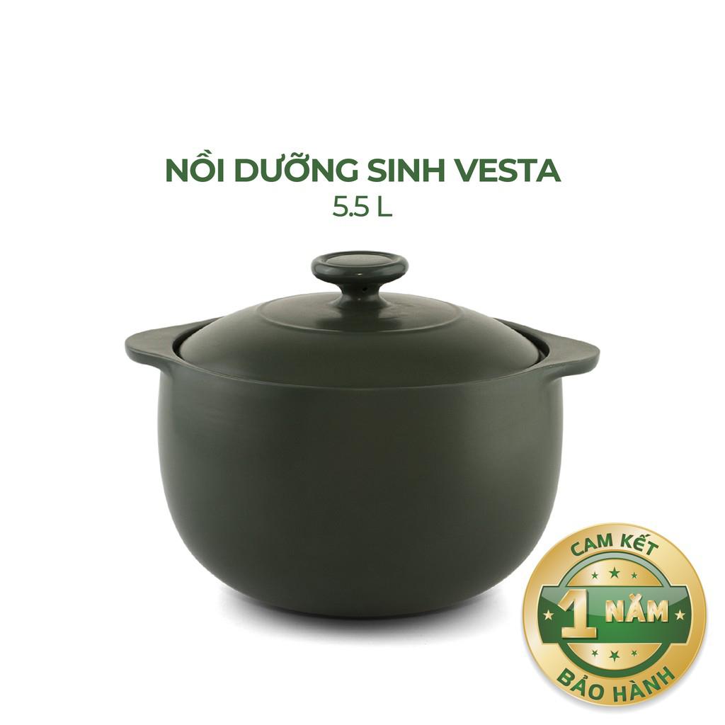 Nồi Sứ Dưỡng Sinh Bếp Ga 5.5 Vesta - Gốm Sứ Minh Long