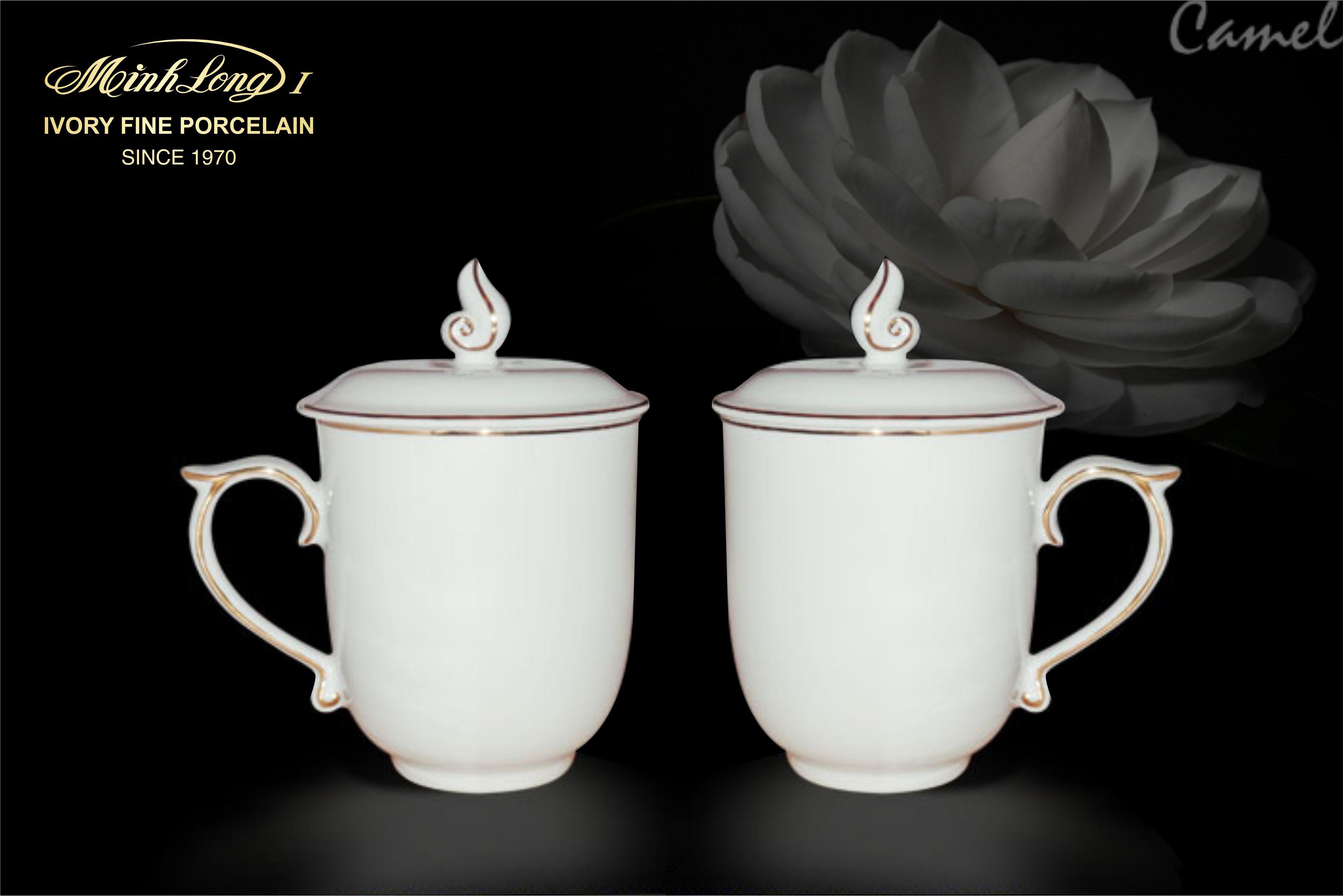 Ca trà 0.30L + nắp Mẫu Đơn IFP Chỉ Vàng 153048014 Minh Long