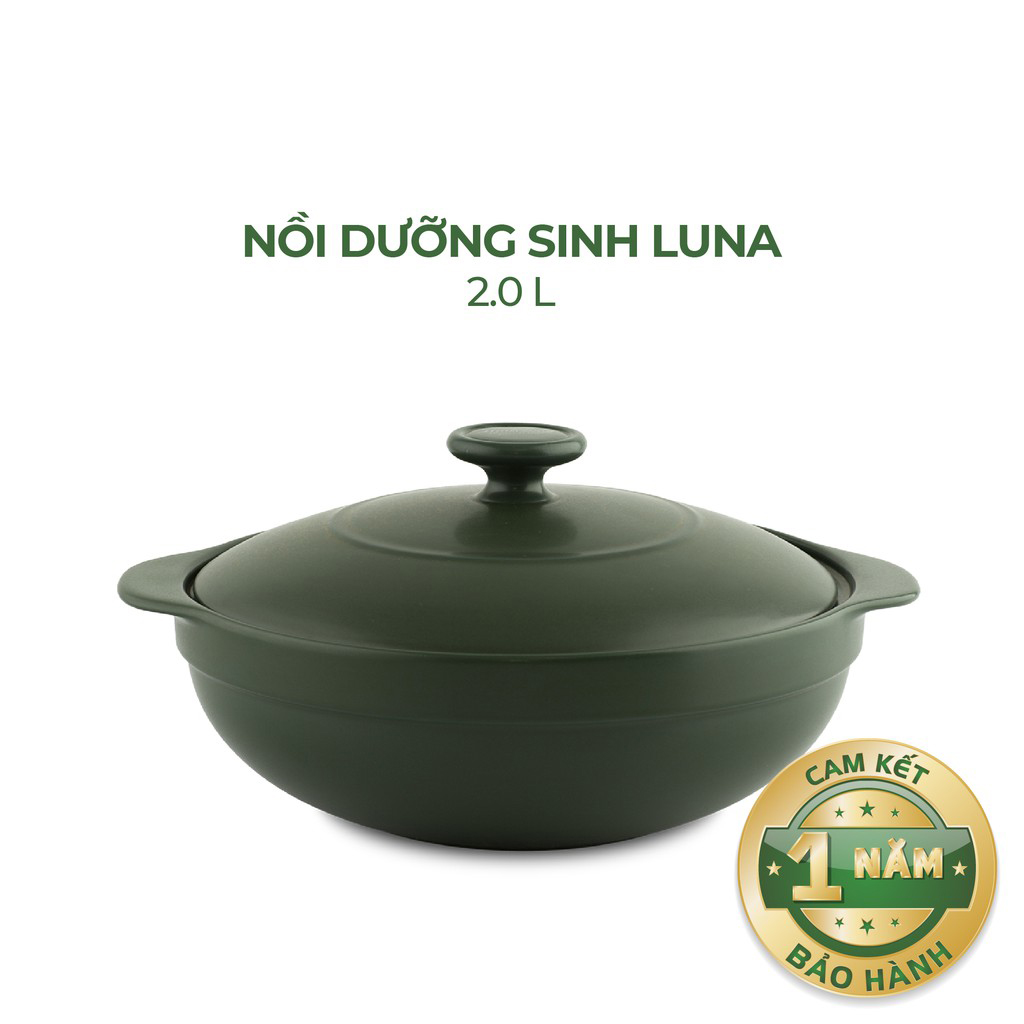 Nồi Sứ Dưỡng Sinh Bếp Ga 2L Luna - Gốm Sứ Minh Long