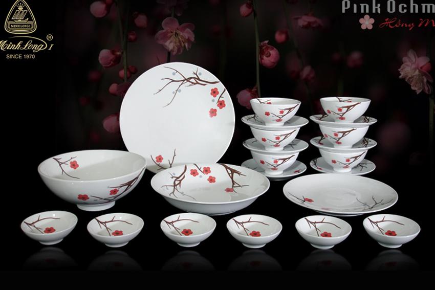 Bộ bàn ăn 22sp Daisy Hồng Mai 22349 Minh Long