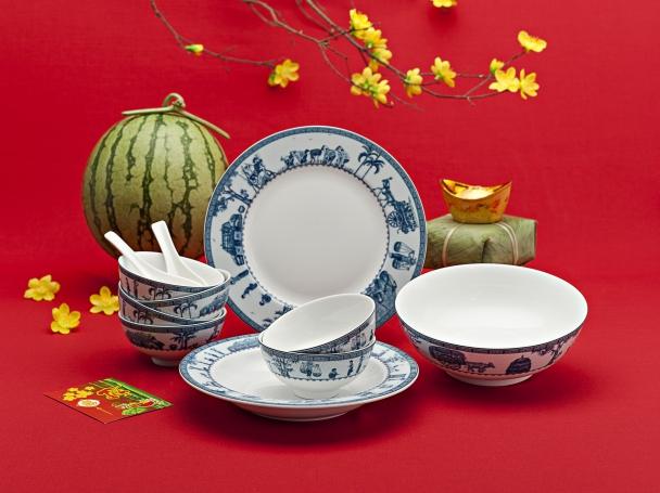 Bộ bàn ăn 09sp Jas  Thôn Dã 09179 Minh Long