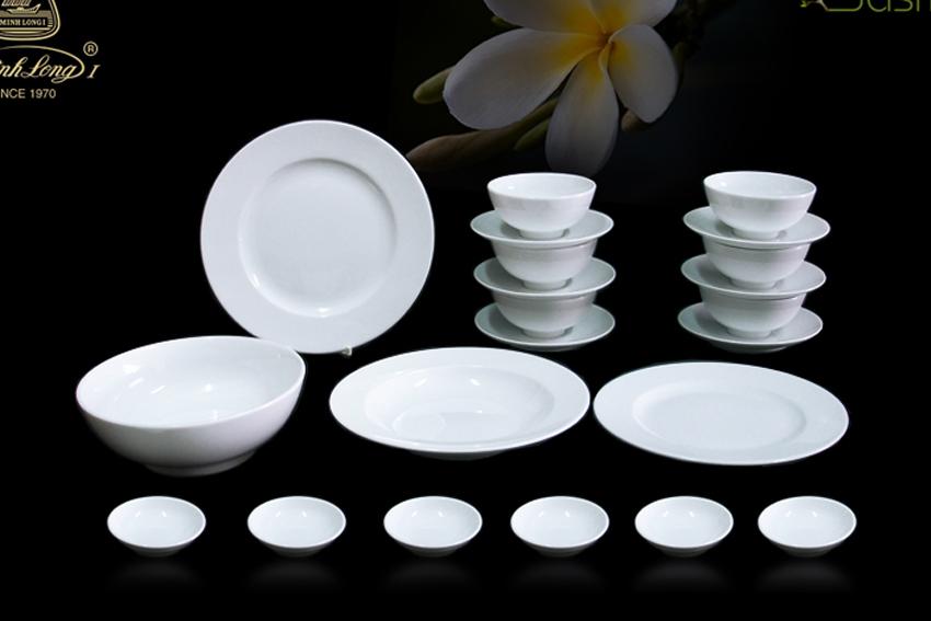 Bộ bàn ăn 22sp Jas Trắng Minh Long