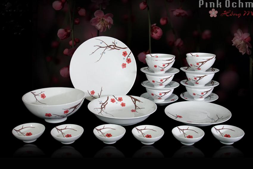 Bộ bàn ăn 24sp Daisy Hồng Mai 24349 Minh Long