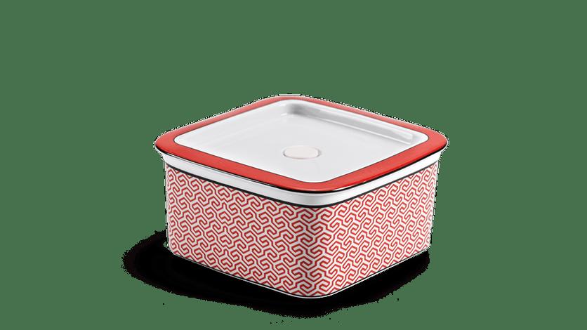 Hộp dưỡng sinh vuông đựng thực phẩm 15 cm + nắp - Red Karakusa (LTF)