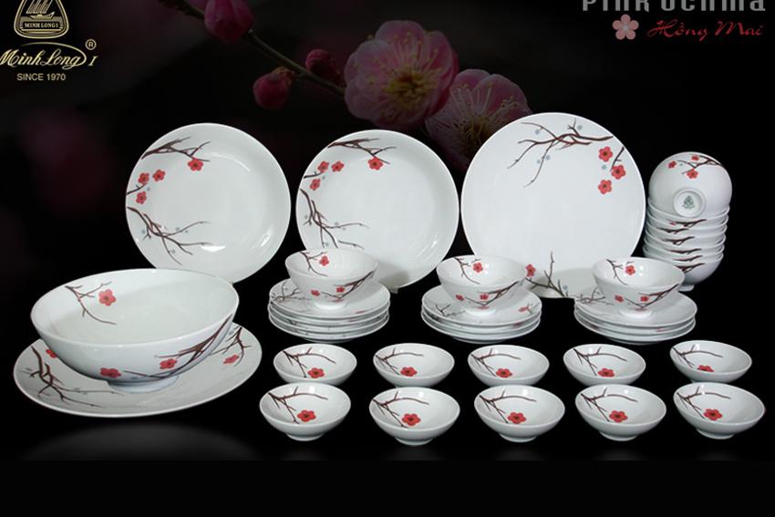Bộ bàn ăn 35sp Daisy Hồng Mai 35349 Minh Long