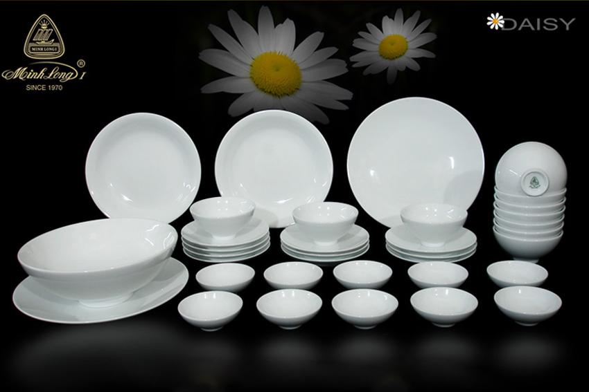 Bộ bàn ăn 35sp Daisy Trắng Minh Long