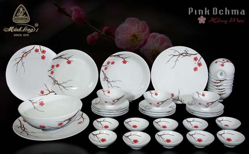 Bộ bàn ăn 36sp Daisy Hồng Mai Minh Long