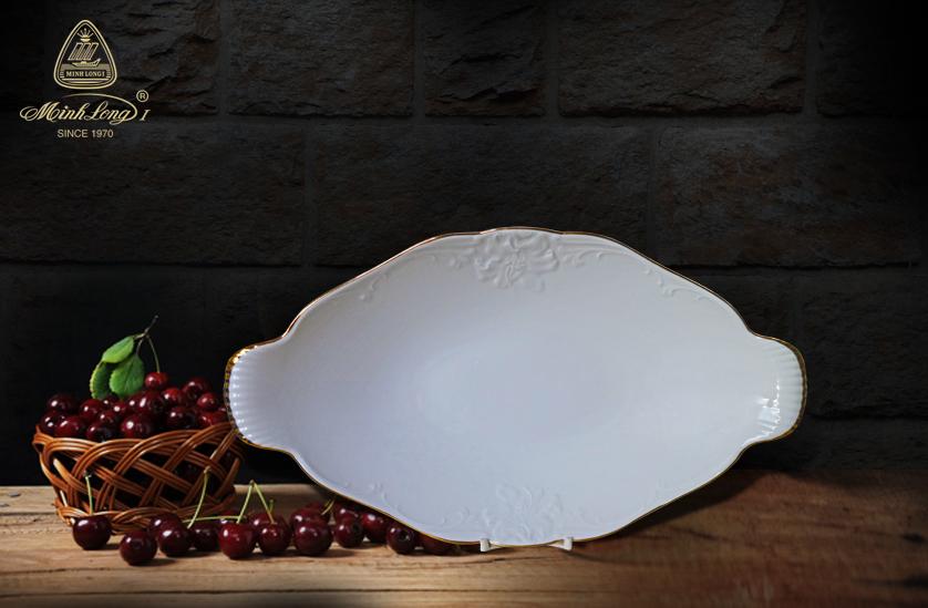 Dĩa trái cây Đài Các Viền Chỉ Vàng (men trắng) 073684014 Minh Long