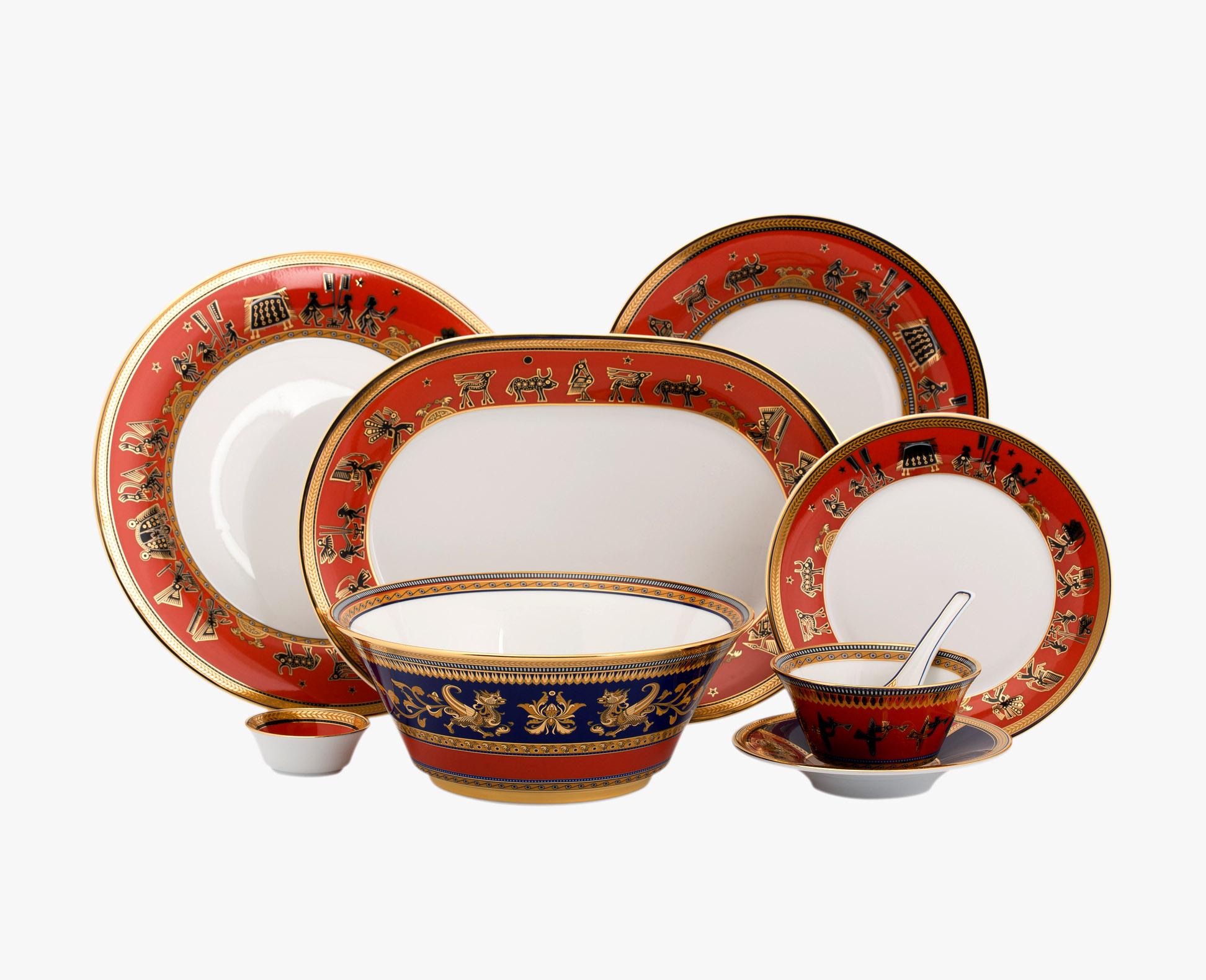 Bộ bàn ăn 45sp Tulip Trắng Trống Đồng 4506AA376 Minh Long
