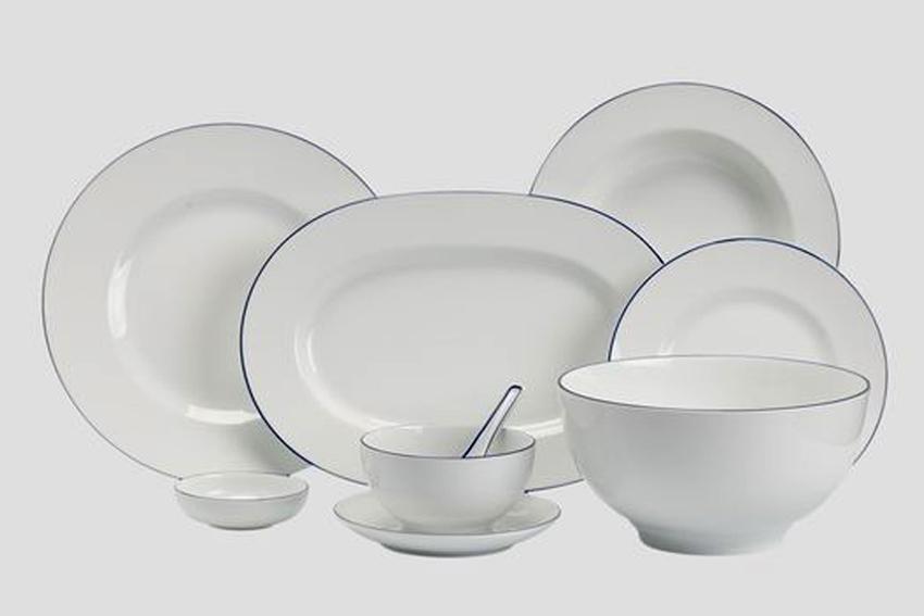 Bộ bàn ăn 6 người Âu - Á 45sp Came Chỉ Xanh Dương 4506AA021 Minh Long