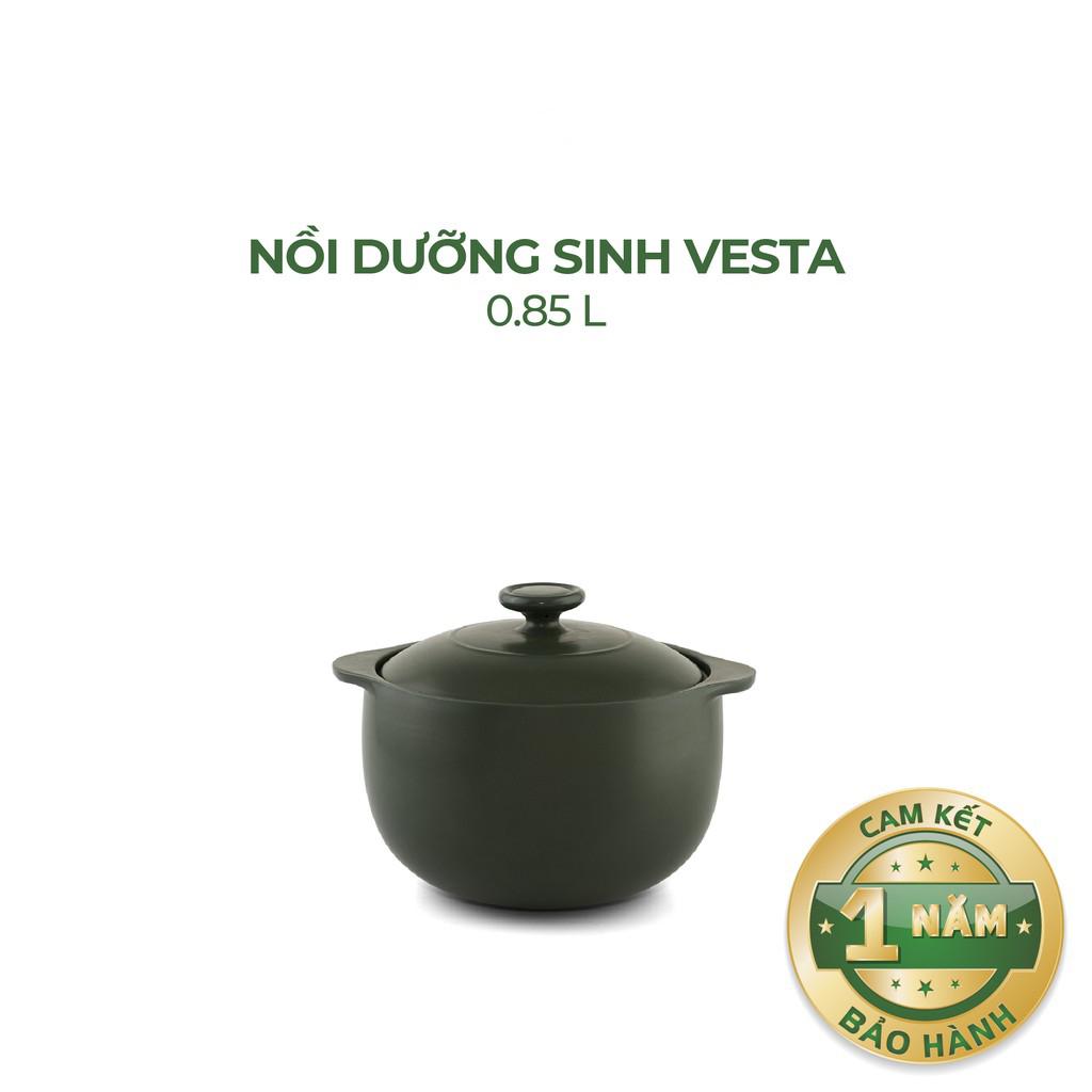 Nồi Sứ Dưỡng Sinh Bếp Ga 0.85L Vesta - Gốm Sứ Minh Long
