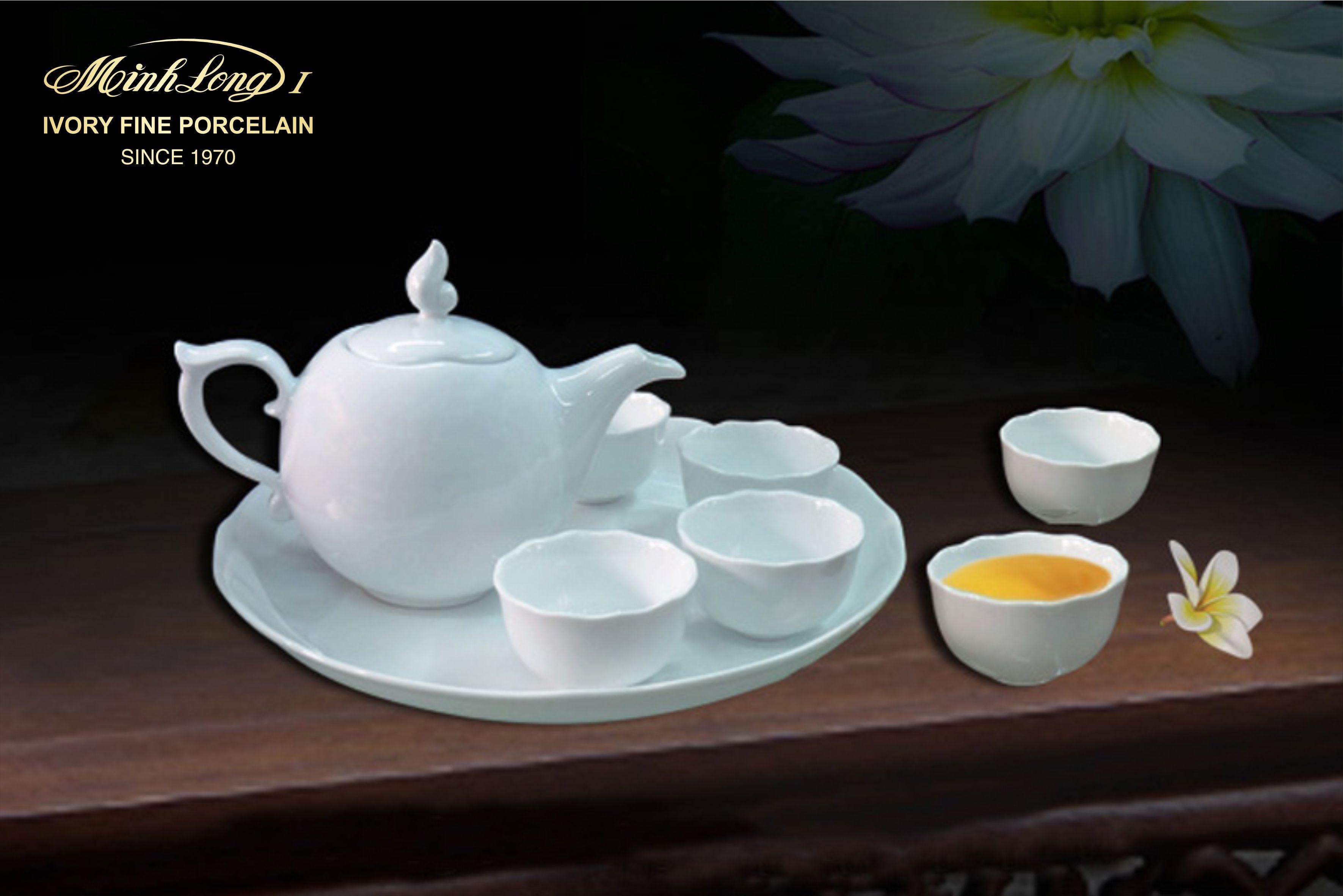 Bộ trà 0.3L Mẫu Đơn IFP Trắng Ngà 68301300003 Minh Long