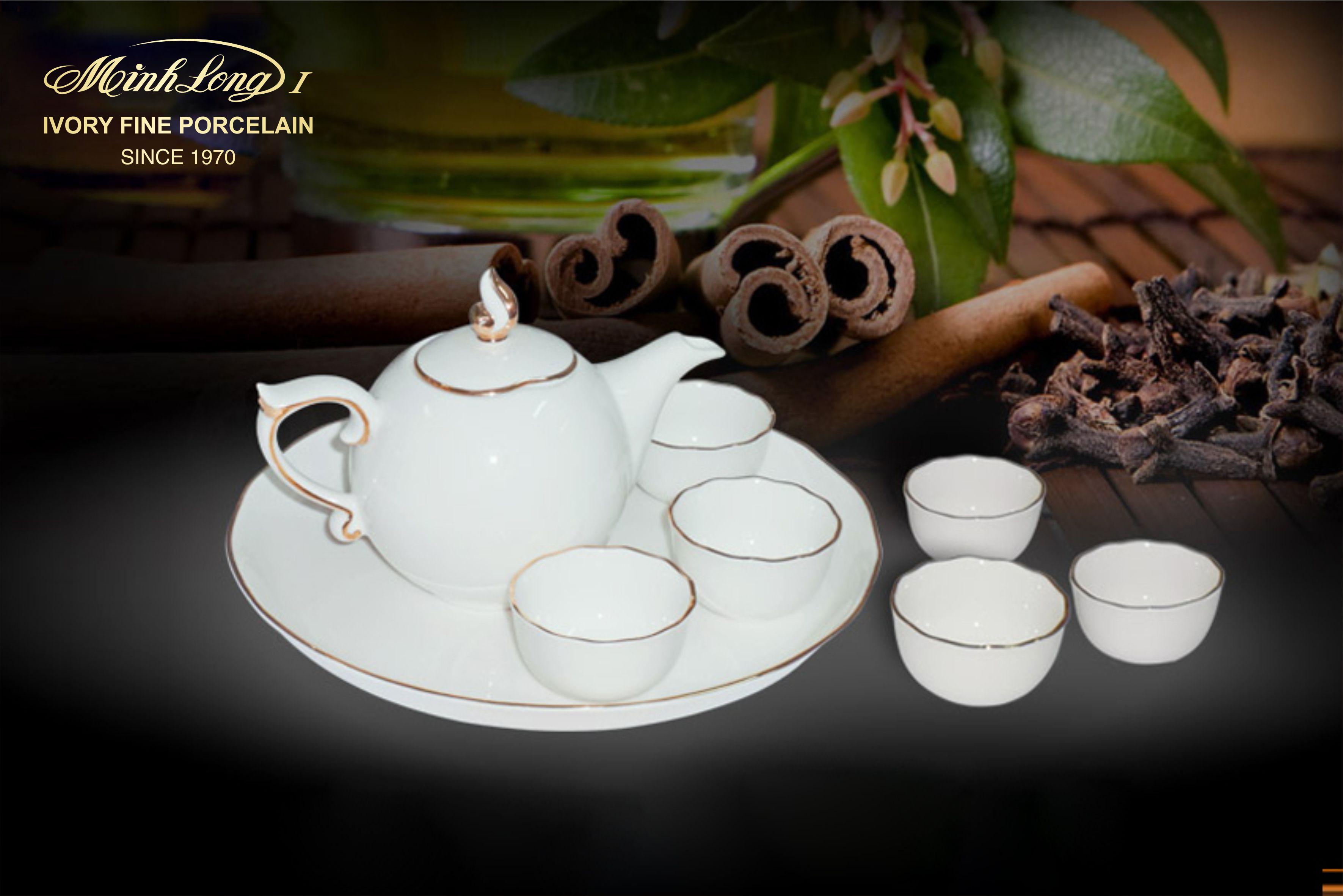 Bộ trà 0.3L Mẫu Đơn IFP Chỉ Vàng 01308901403 Minh Long