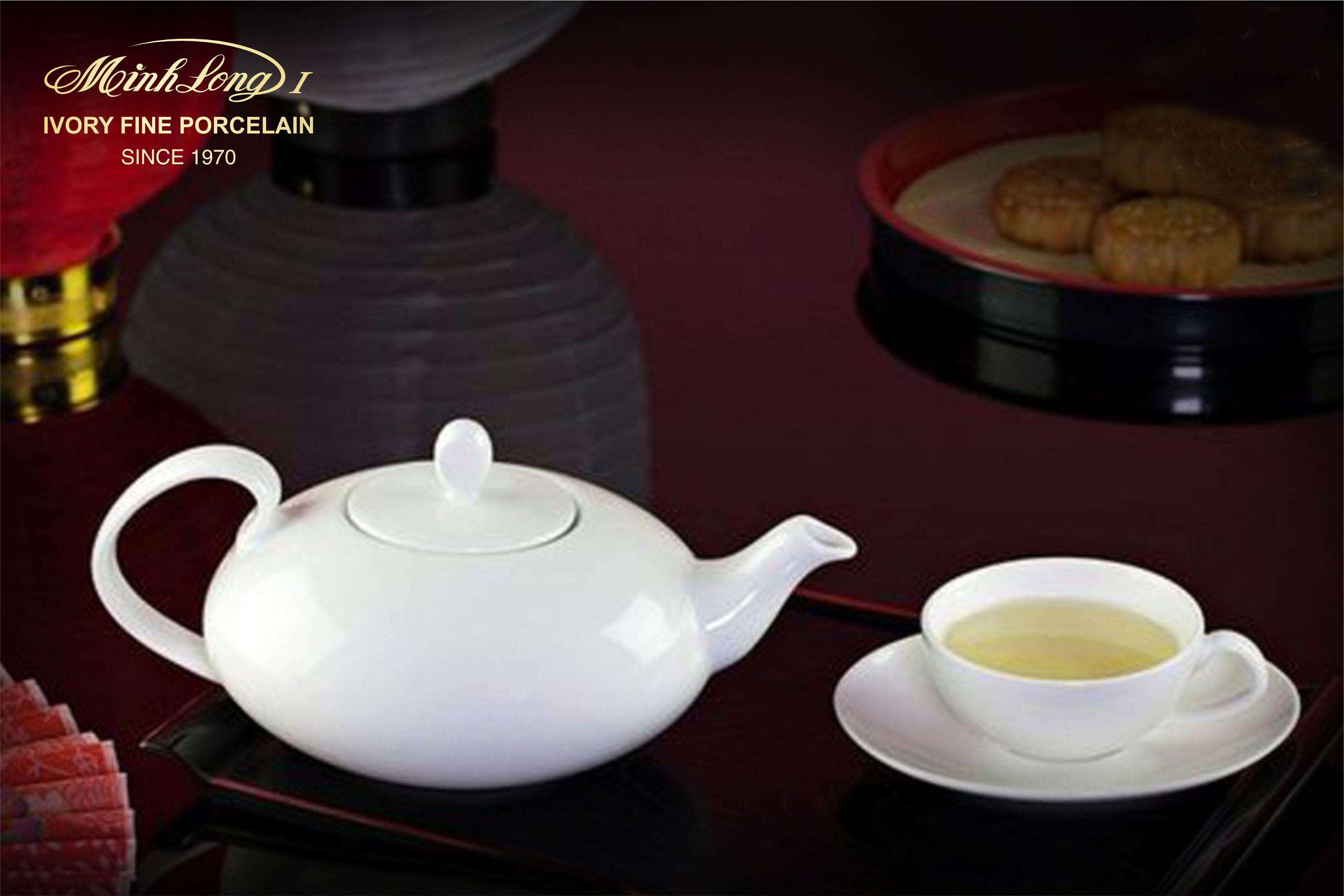 Bộ trà elip 0.47L Anna Trắng Ngà 68470200003 Minh Long