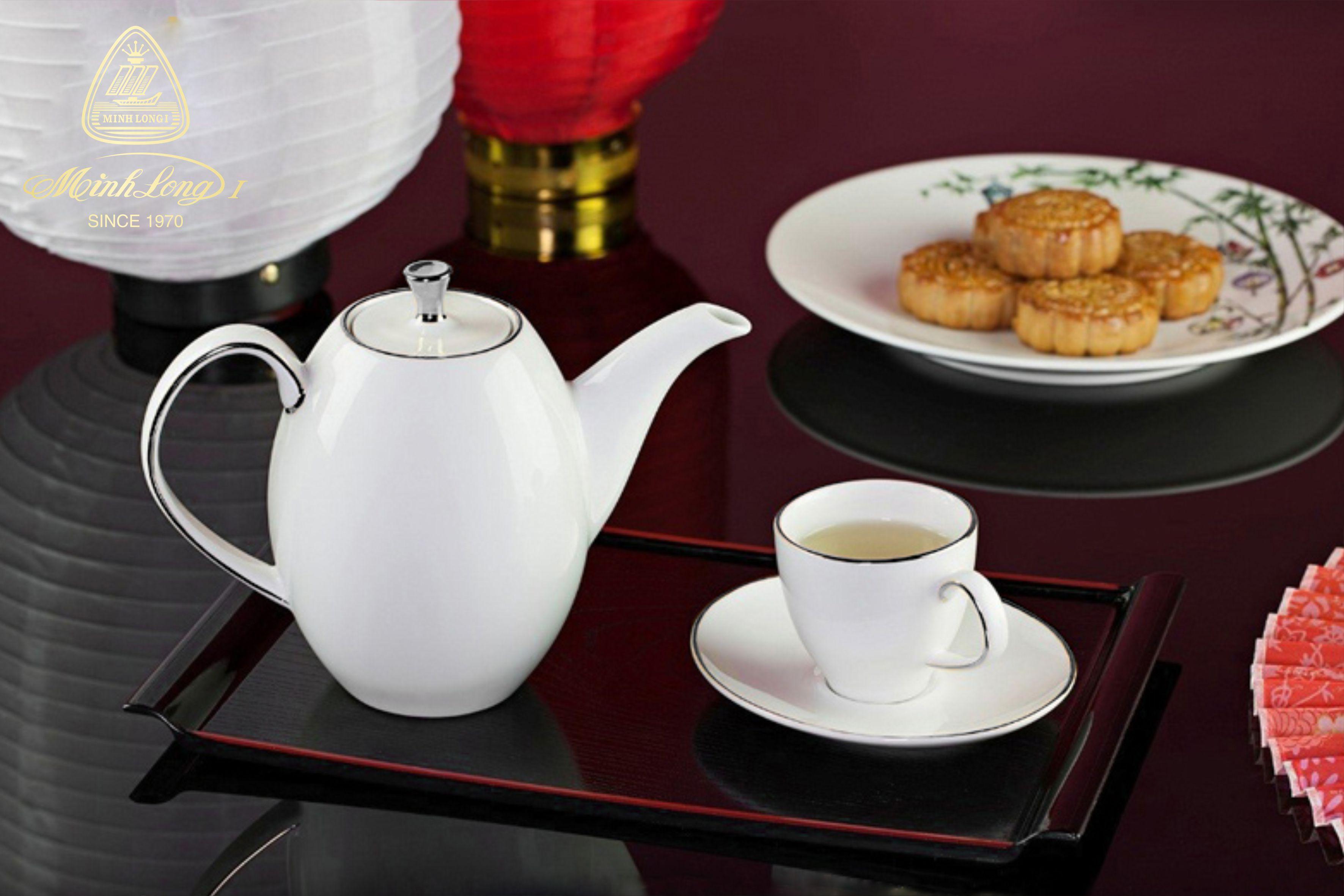 Bộ trà cao 0.47L Anna Chỉ Bạch Kim 68470304303 Minh Long