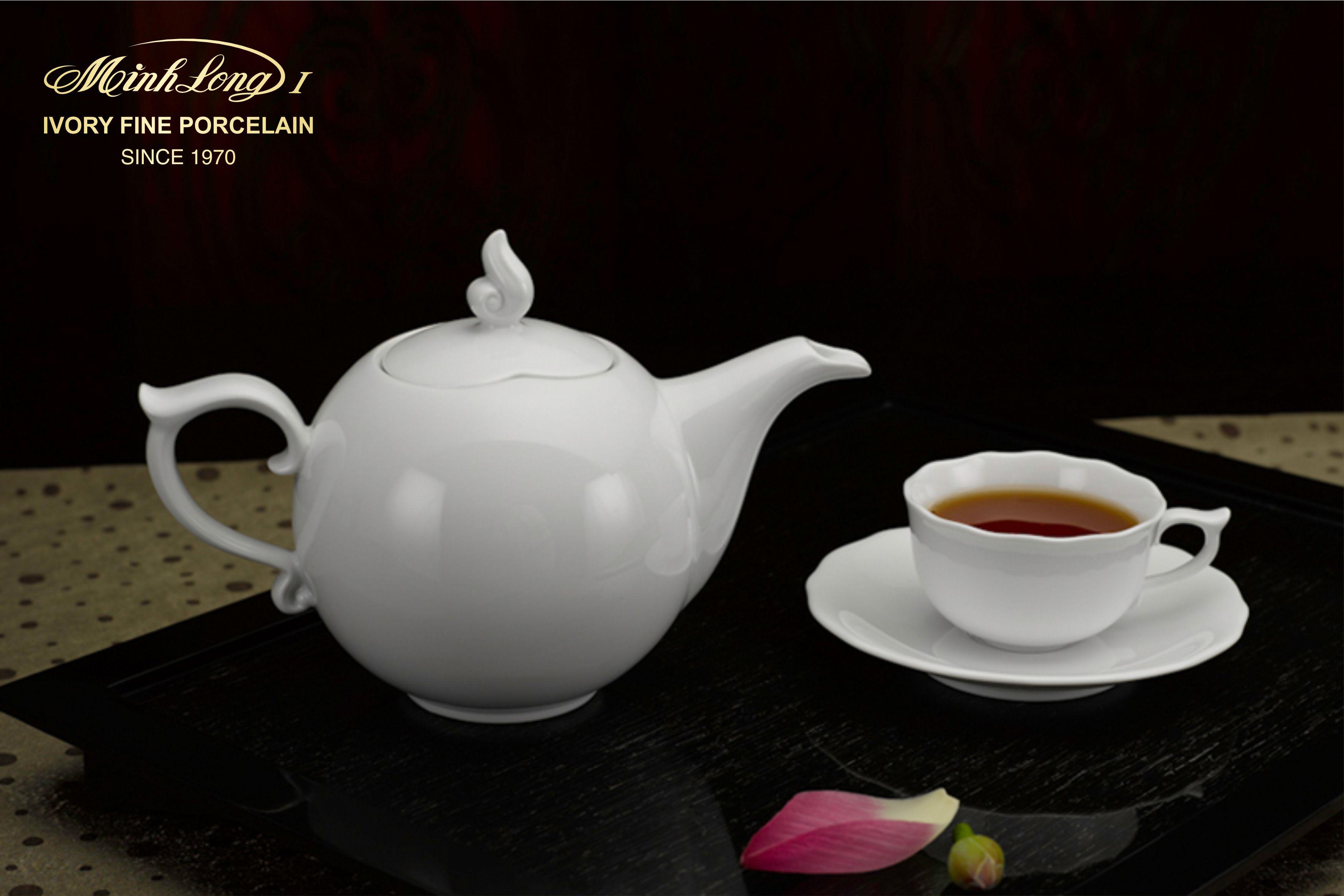 Bộ trà 0.7L Mẫu Đơn IFP Trắng Ngà 68701300003 Minh Long