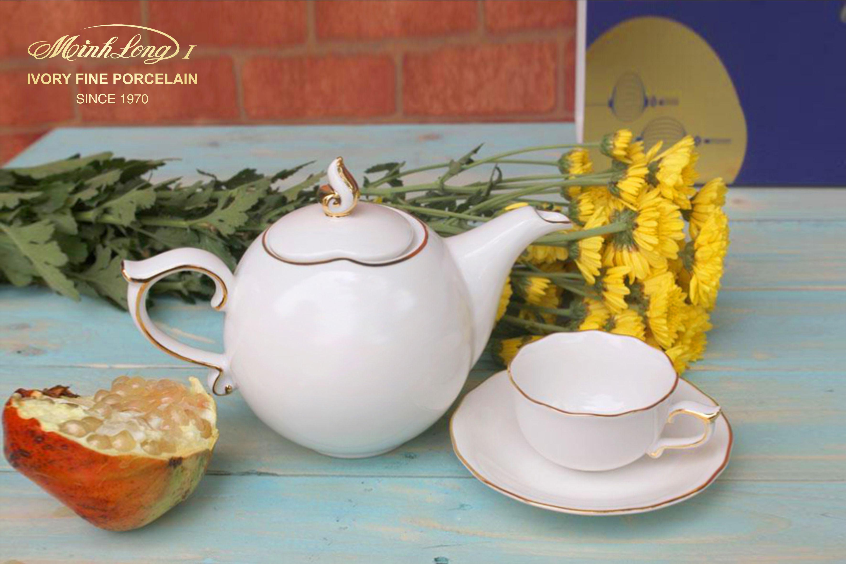 Bộ trà 0.7L Mẫu Đơn IFP Chỉ Vàng 68701301403 Minh Long
